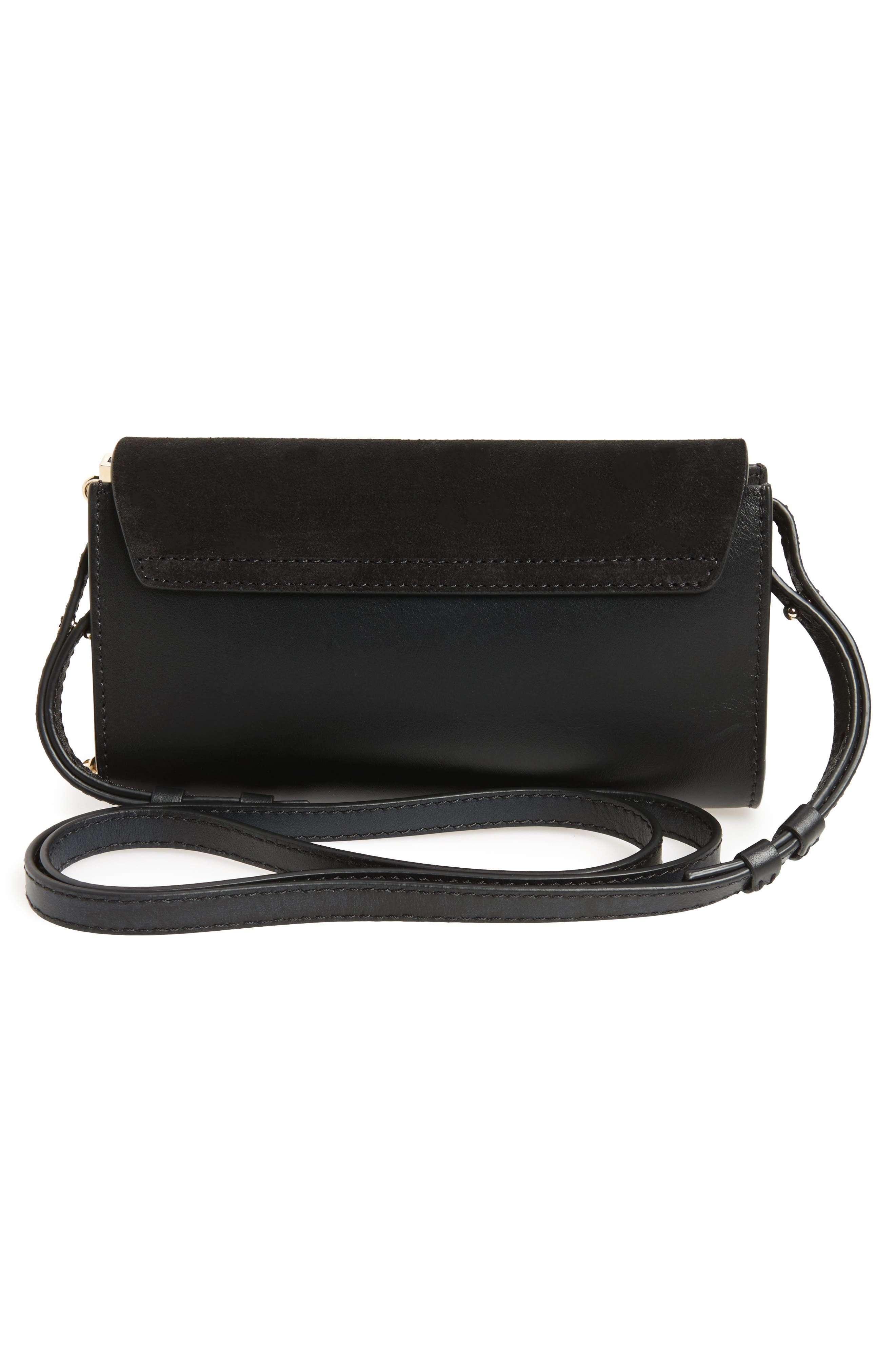 Mini Faye Suede & Leather Wallet on a Chain,                             Alternate thumbnail 4, color,                             BLACK