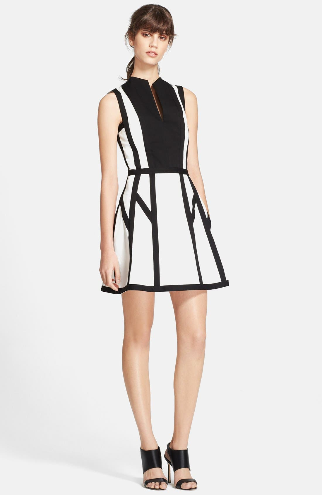 'Graphic Spear' Fit & Flare Dress, Main, color, 100