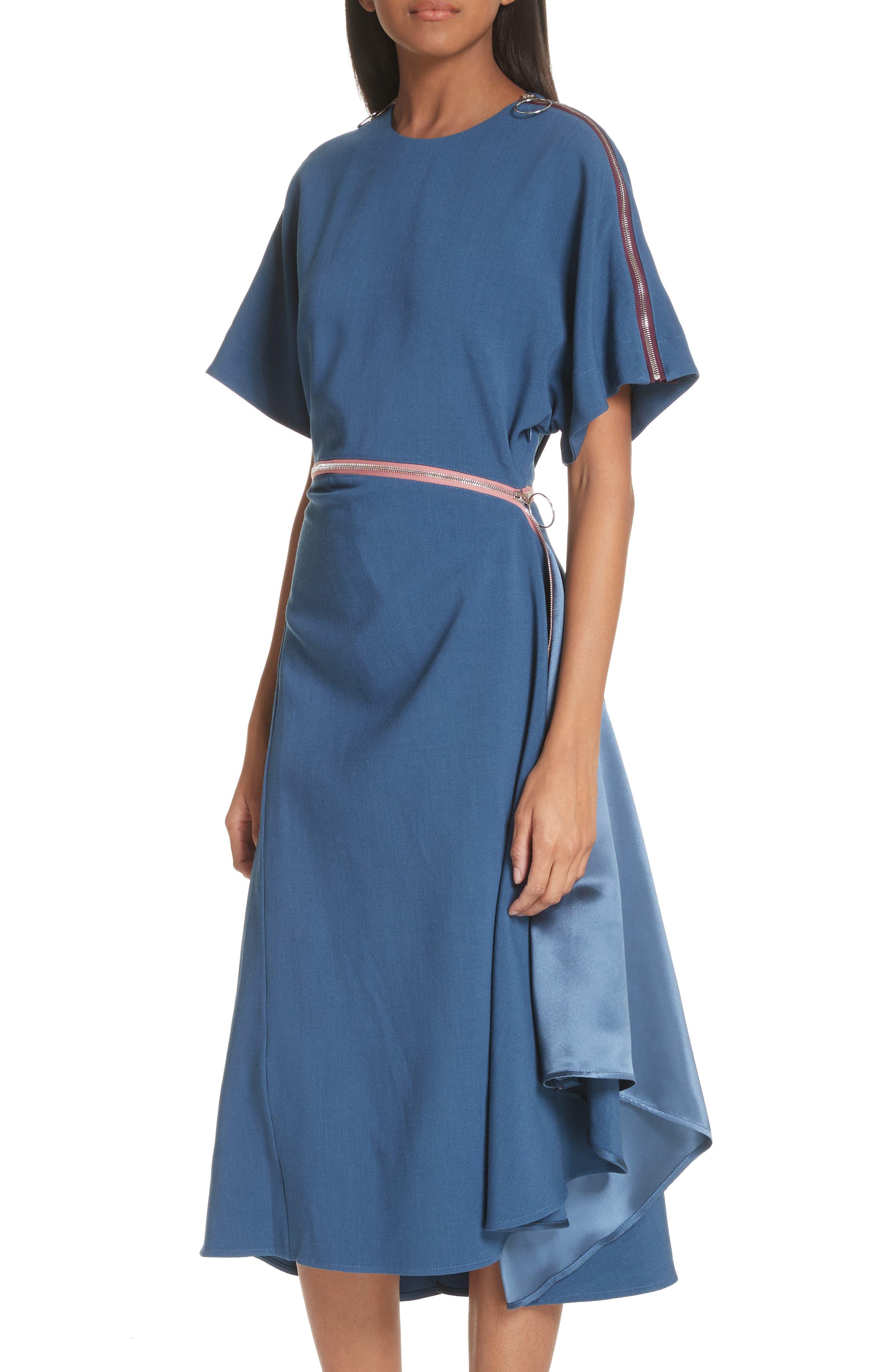 Gianna Asymmetrical Satin Dress,                             Alternate thumbnail 4, color,                             400