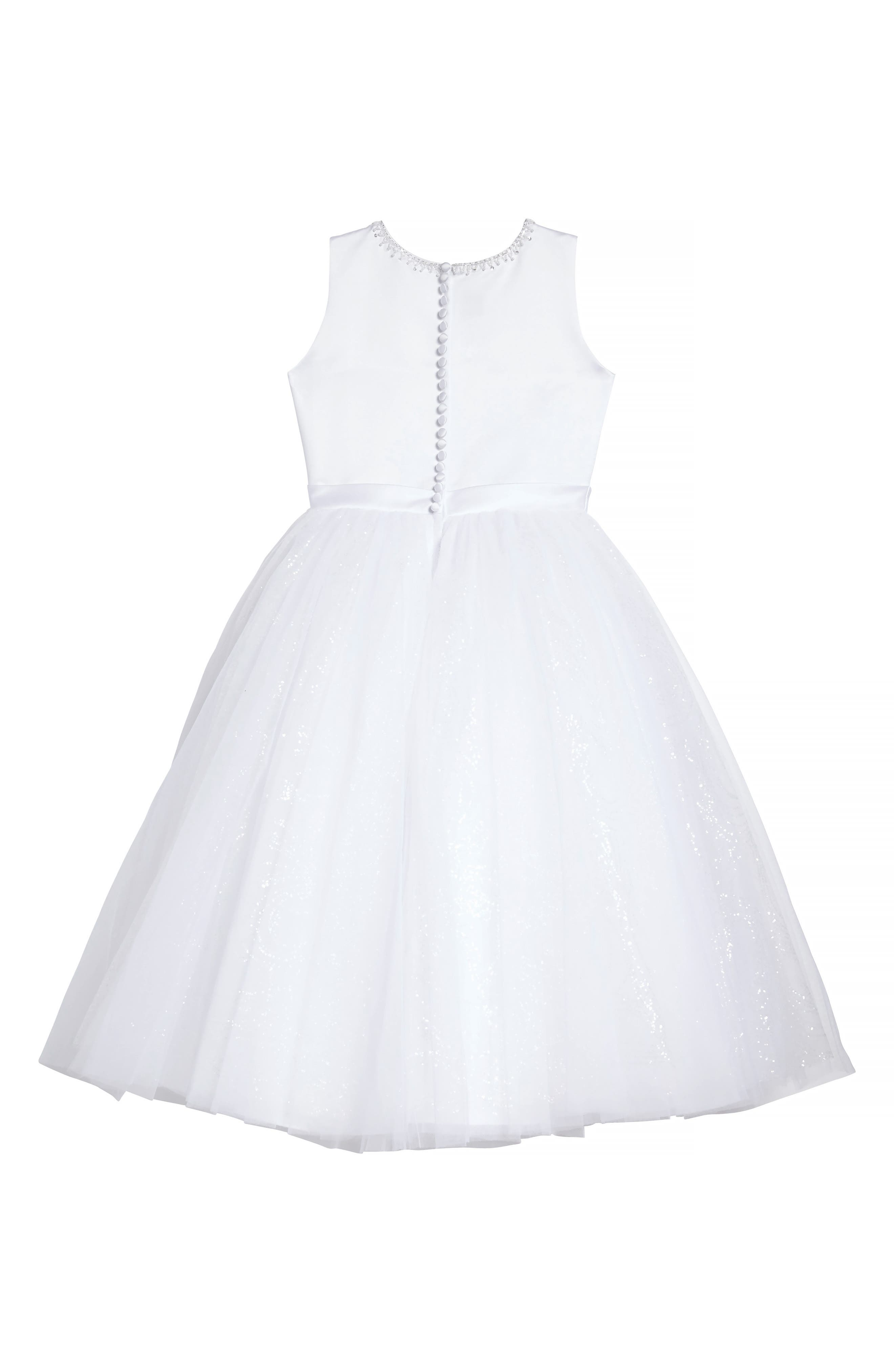 Beaded Satin & Tulle First Communion Dress,                             Alternate thumbnail 2, color,