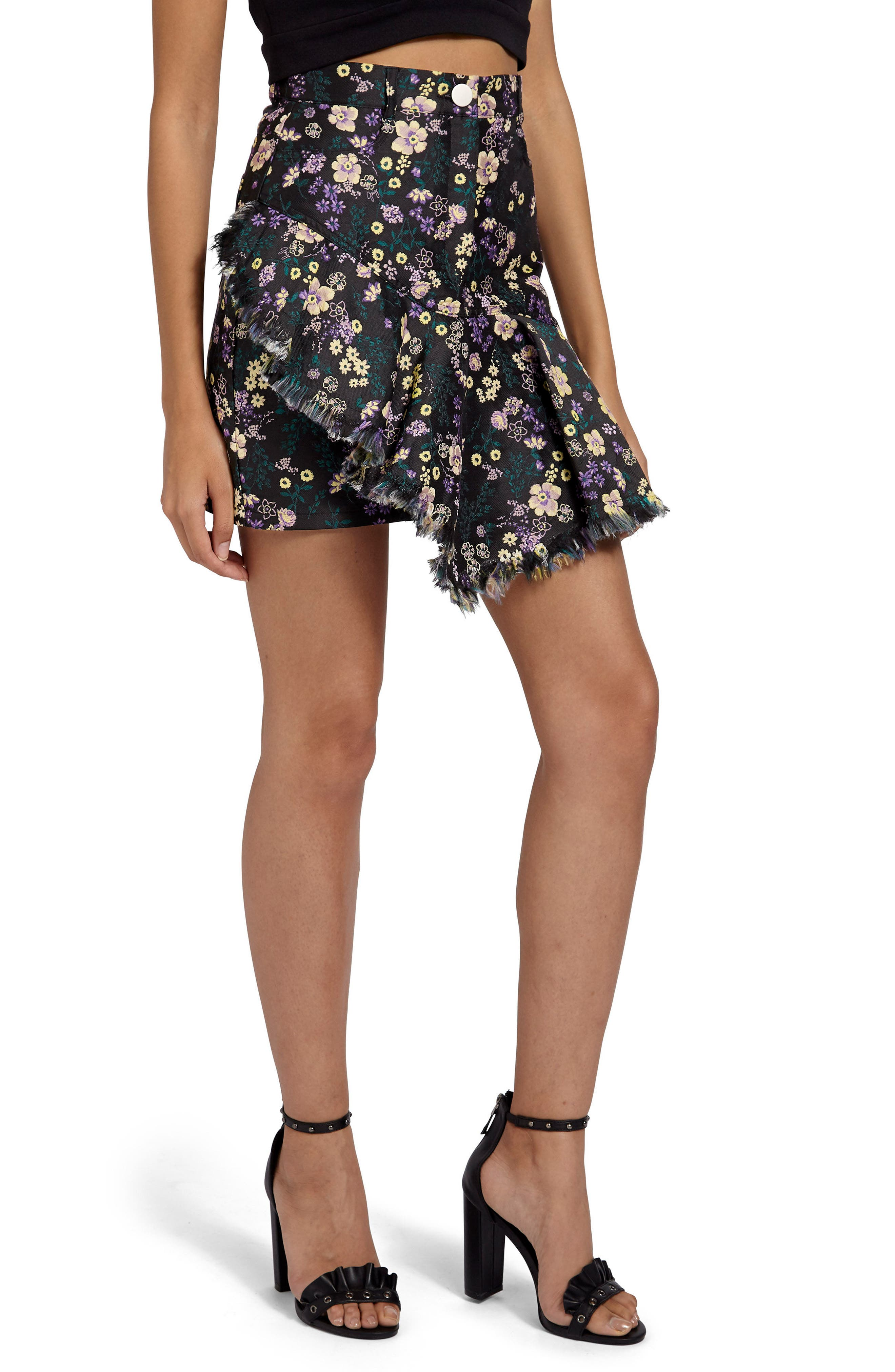 Jacquard Floral Miniskirt,                             Alternate thumbnail 3, color,