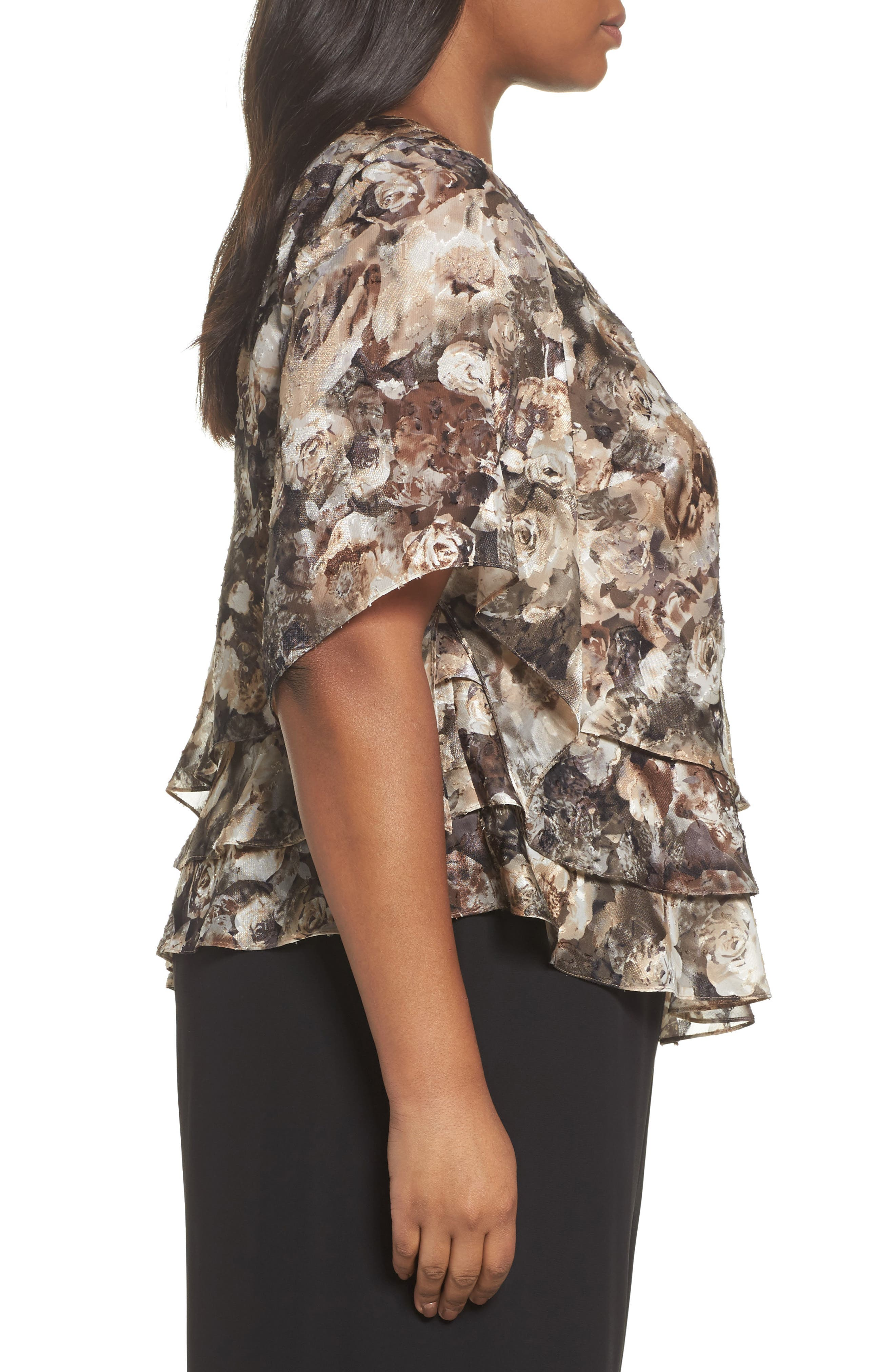 Tiered Chiffon Top,                             Alternate thumbnail 3, color,                             266