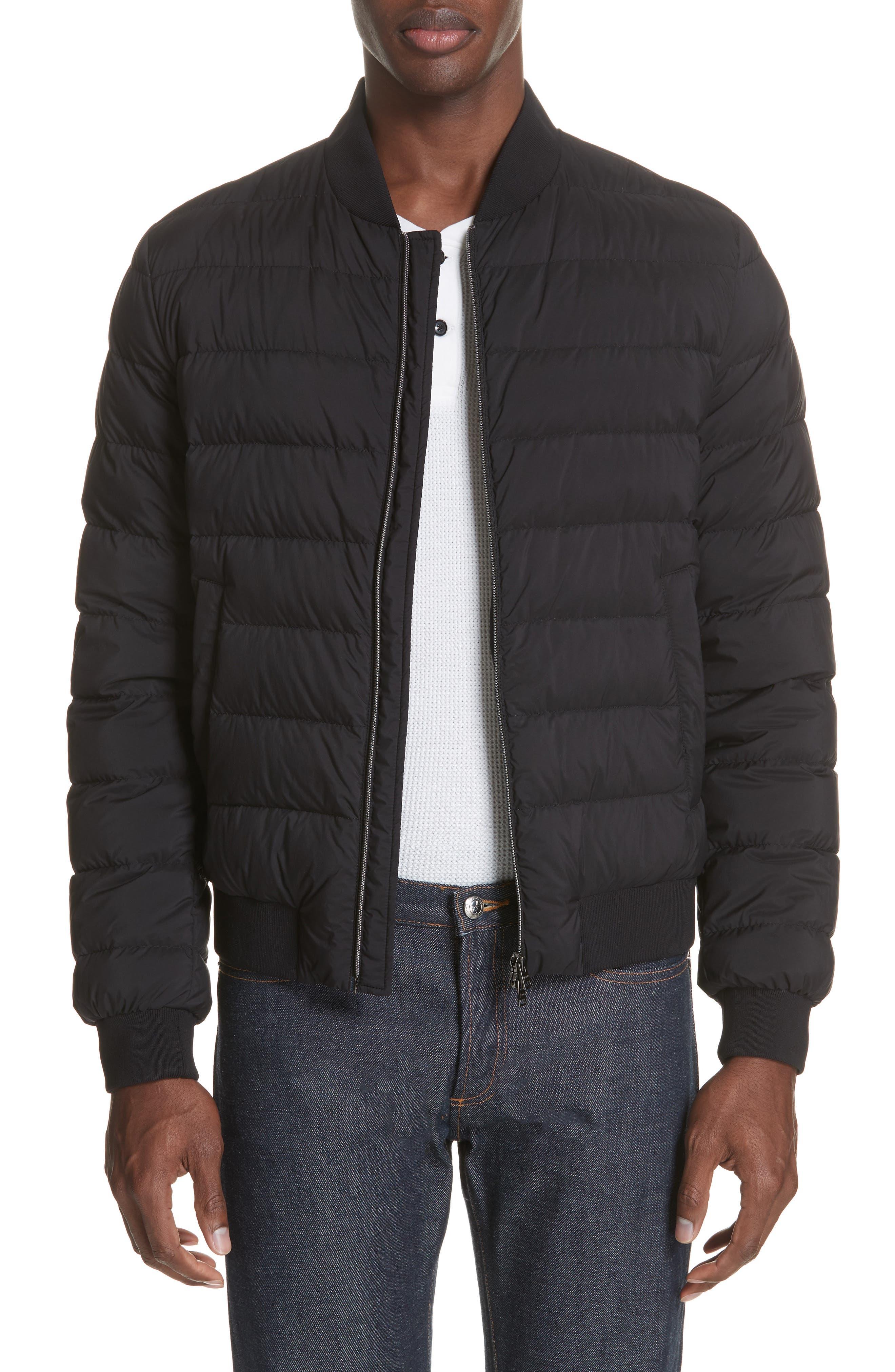 Matte Nylon Down Bomber Jacket,                         Main,                         color, BLACK