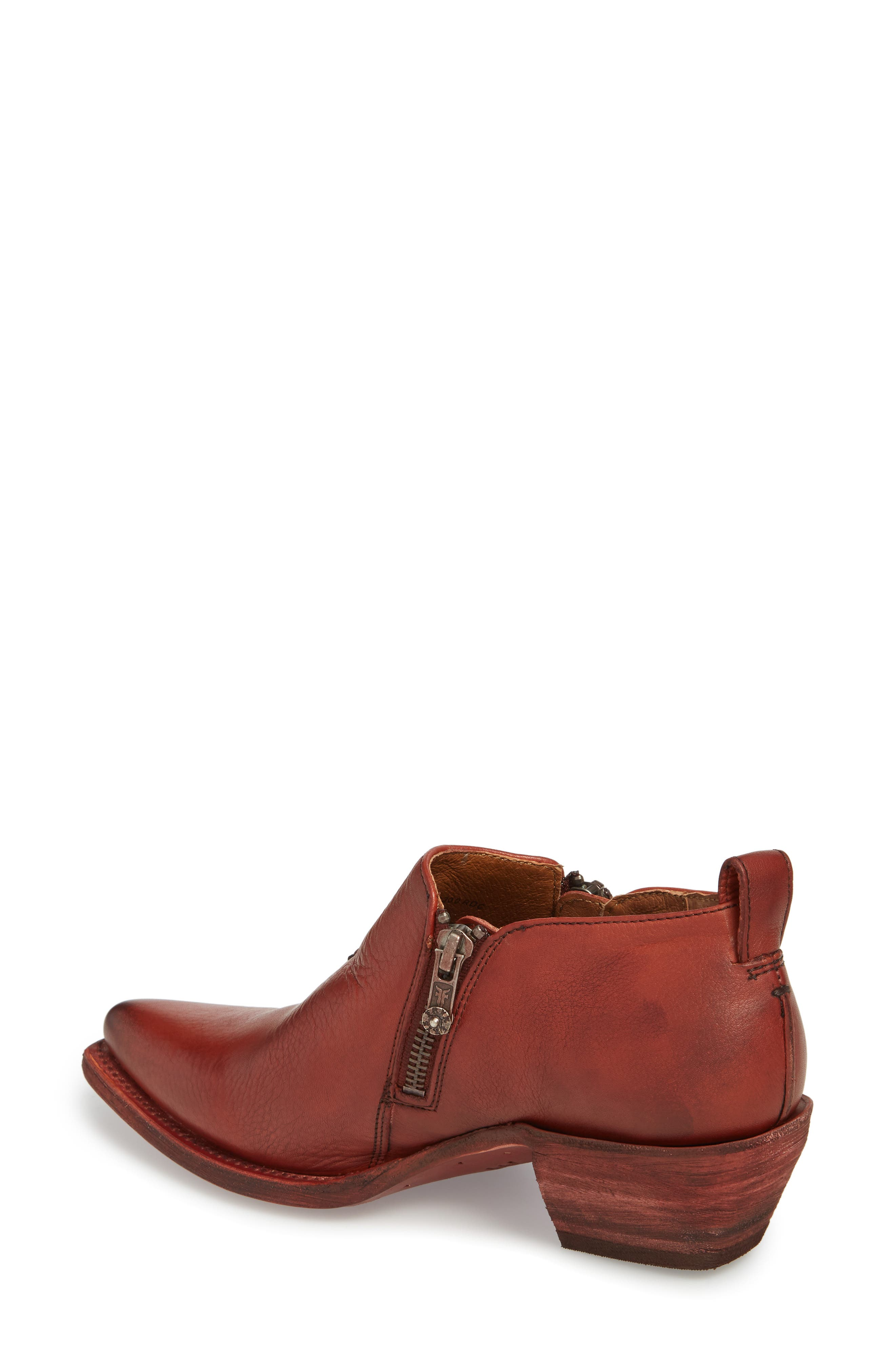 'Sacha' Moto Shootie,                             Alternate thumbnail 2, color,                             RED CLAY LEATHER