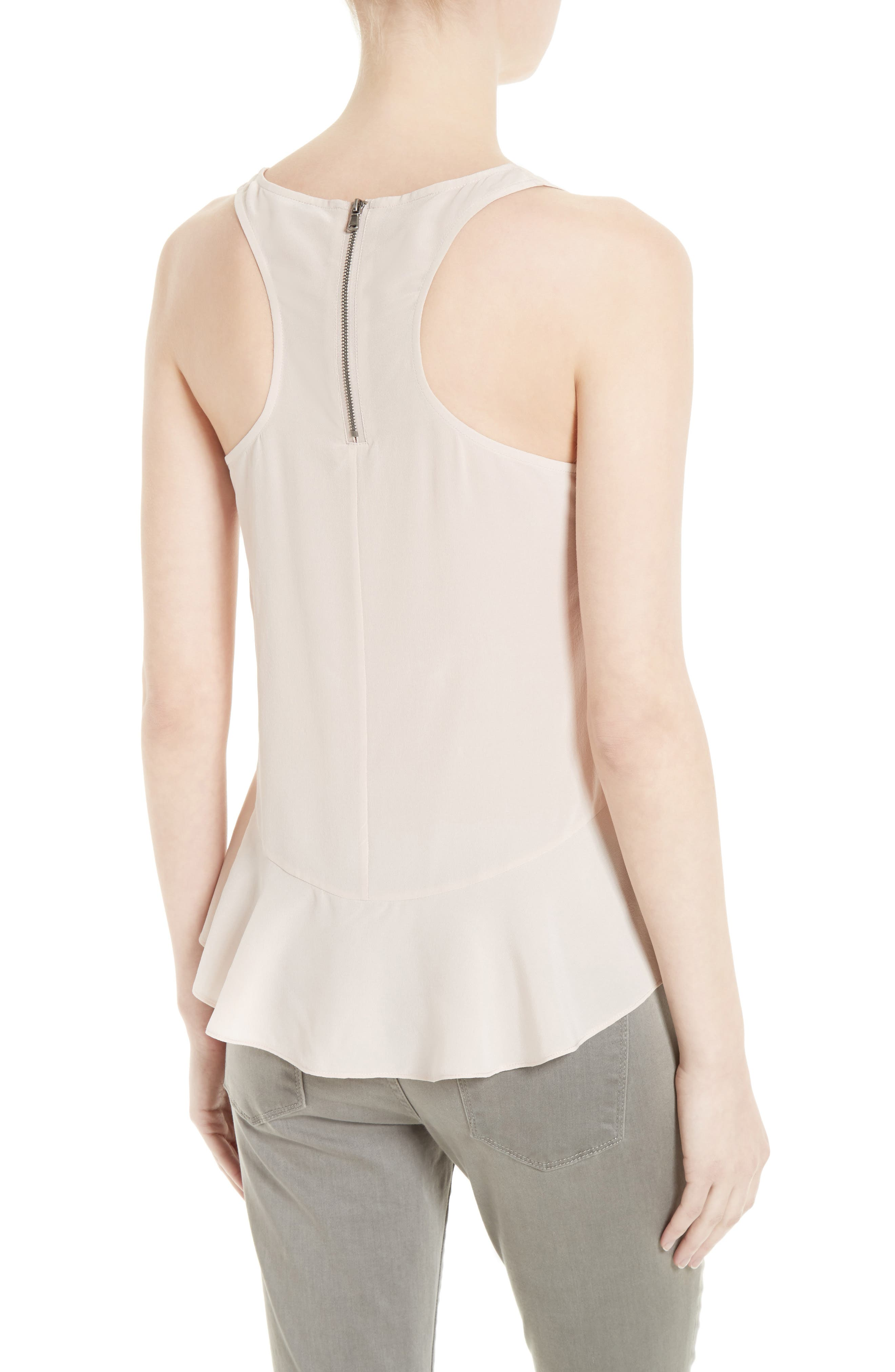 Cosma Silk Flounce Hem Tank,                             Alternate thumbnail 4, color,
