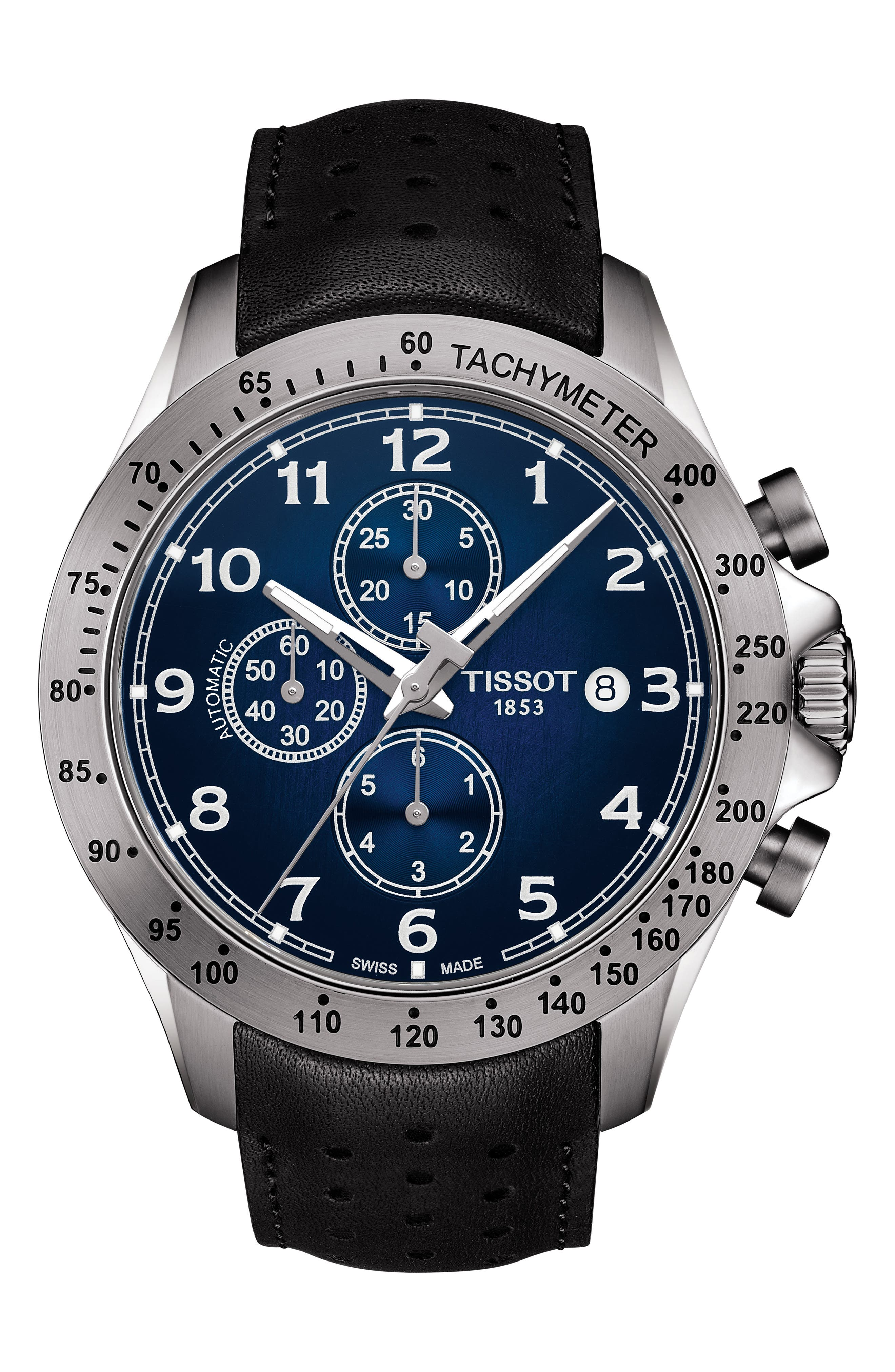 V8 Automatic Chronograph Leather Strap Watch, 45mm,                             Main thumbnail 1, color,                             BLACK/ BLUE/ SILVER