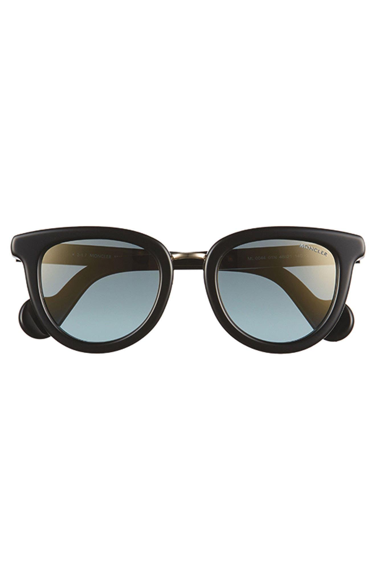 48mm Cat Eye Sunglasses,                             Alternate thumbnail 4, color,                             BLACK/ PALE GOLD/ LIGHT BLUE