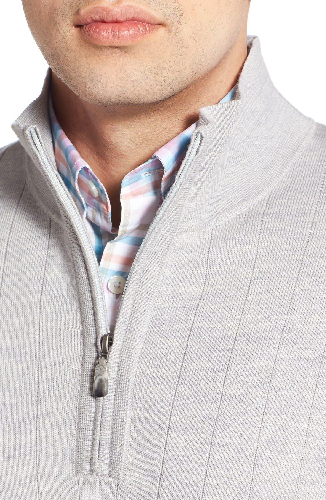 Windproof Merino Wool Quarter Zip Sweater,                             Alternate thumbnail 4, color,                             HEATHER GREY