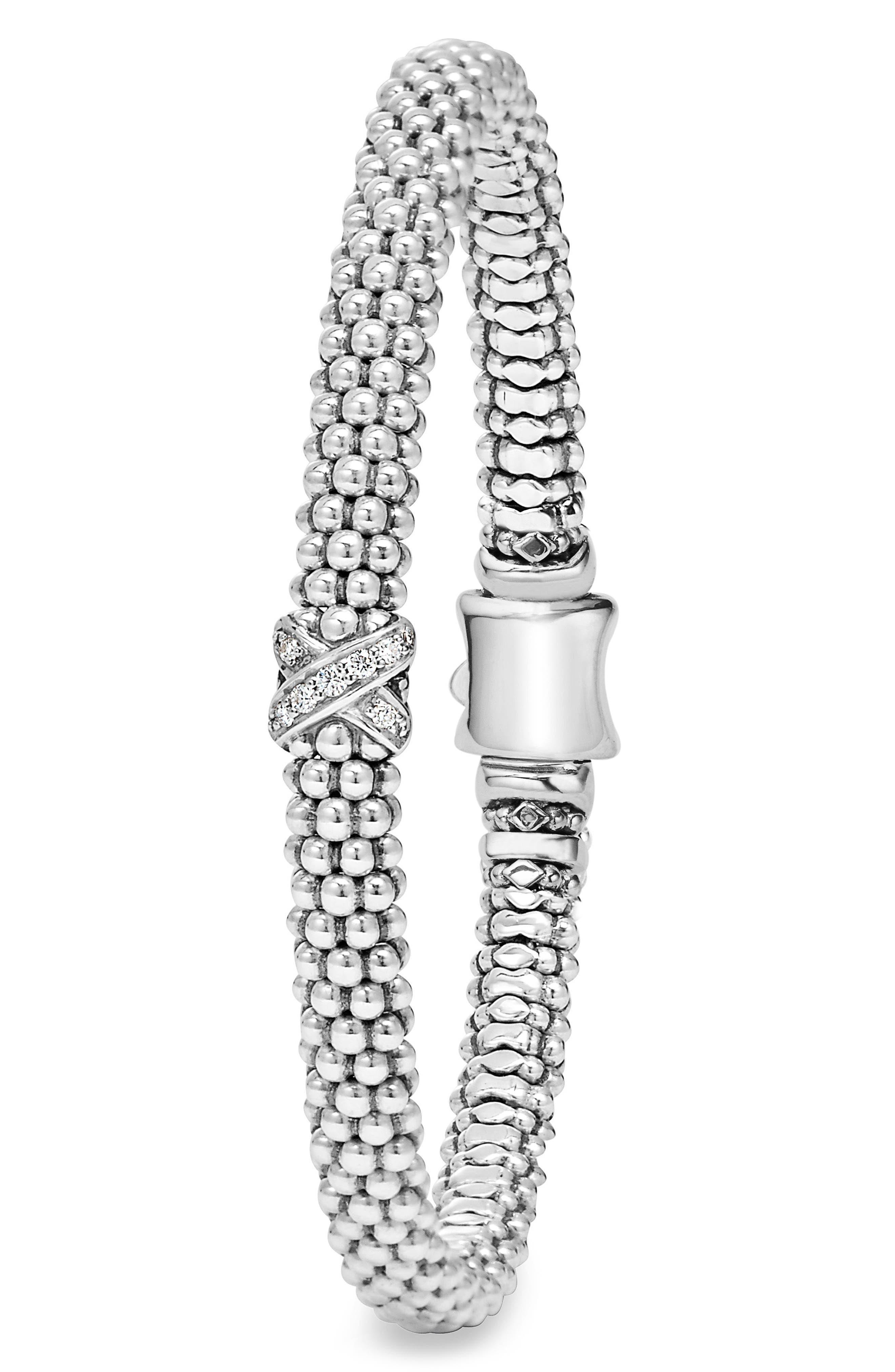 Caviar 'Signature Caviar' Diamond Rope Bracelet,                             Alternate thumbnail 3, color,                             STERLING SILVER