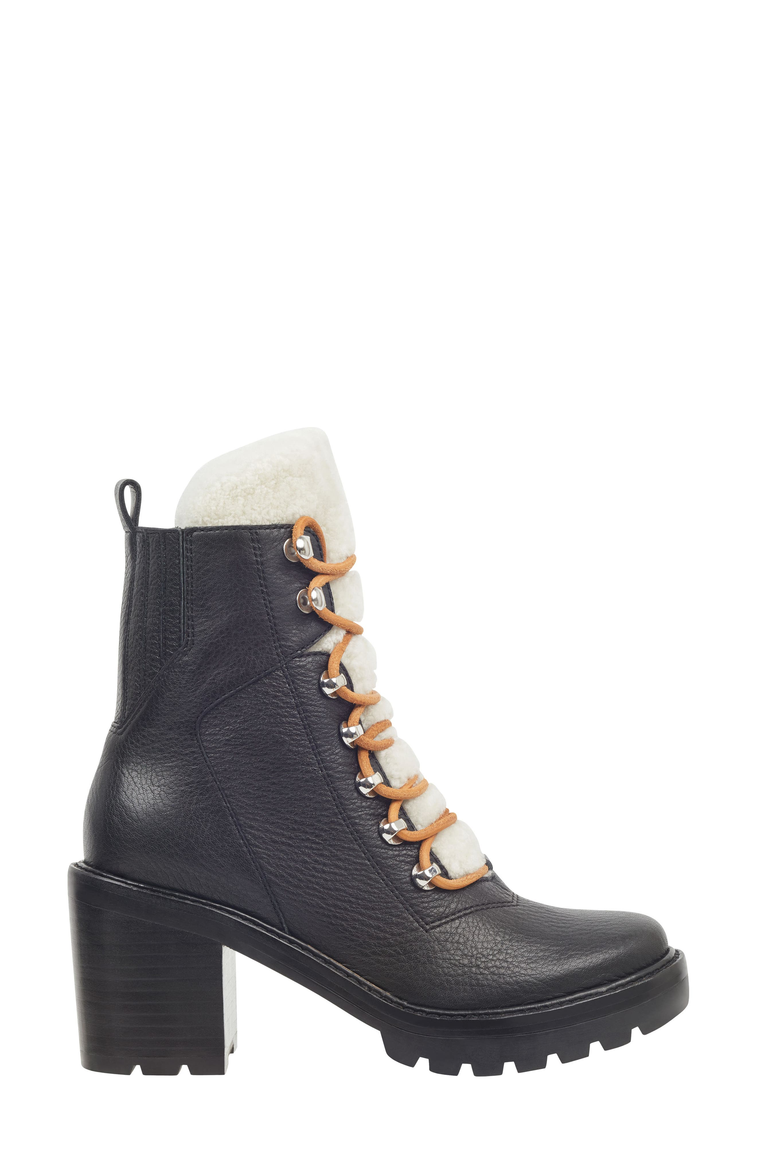 Denise Combat Boot,                             Alternate thumbnail 3, color,                             BLACK/ NATURAL LEATHER