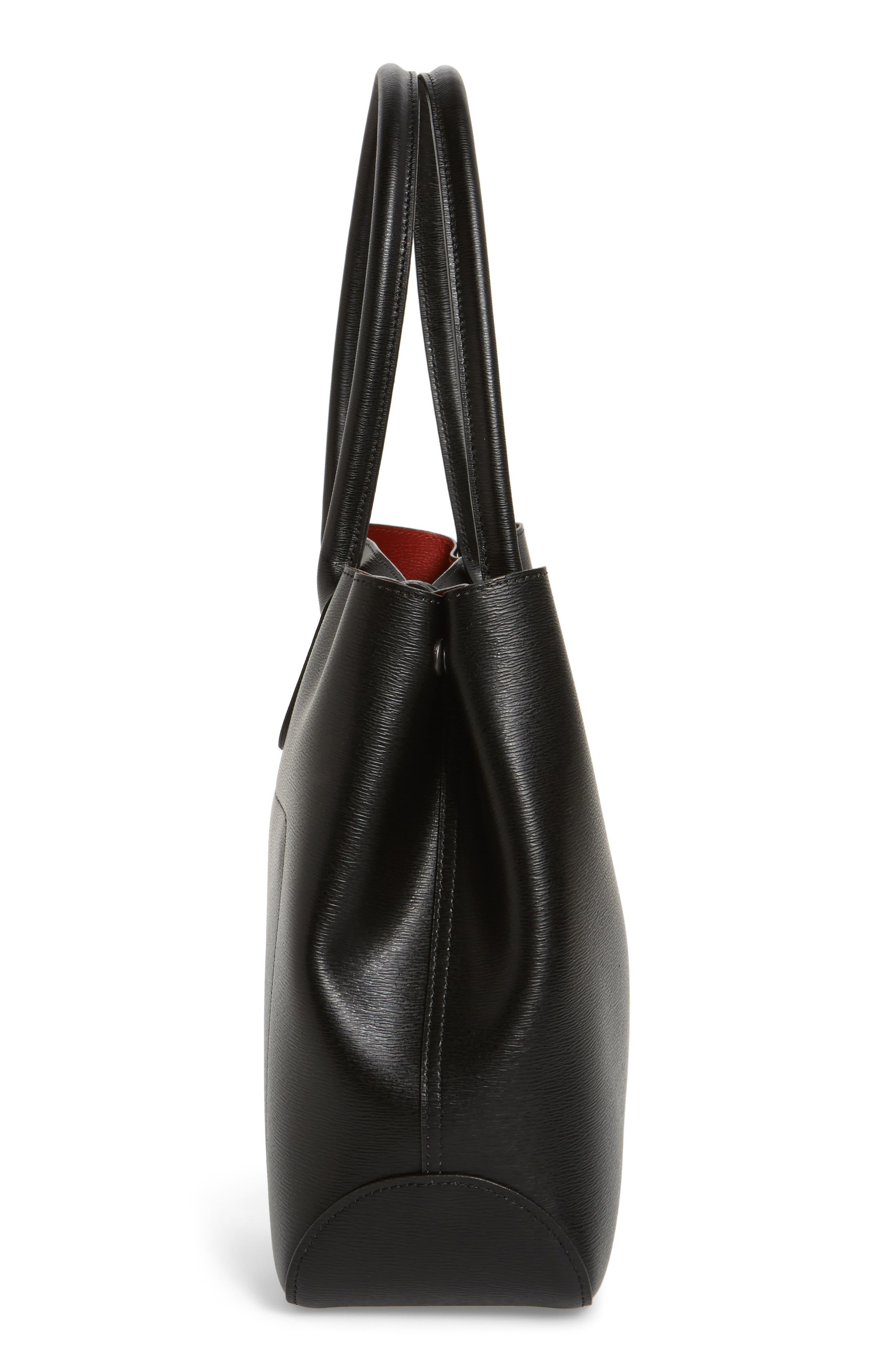 LONGCHAMP,                             Roseau Leather Shoulder Tote,                             Alternate thumbnail 5, color,                             BLACK