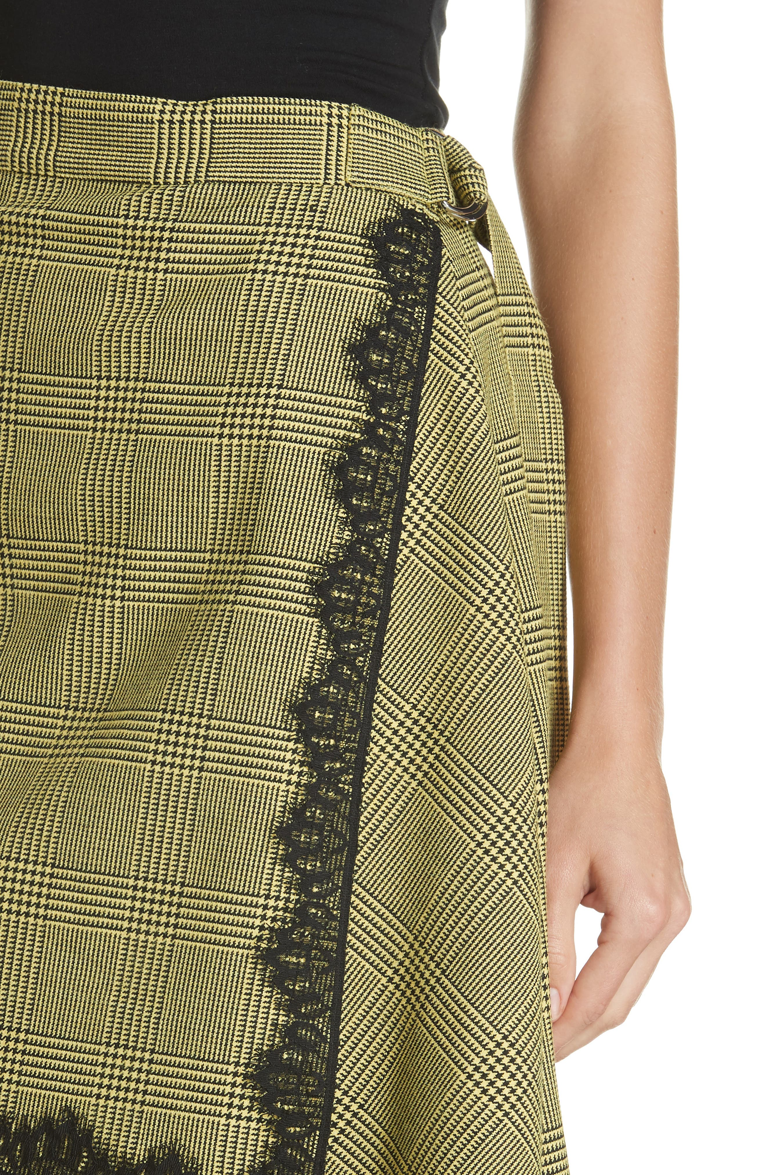 Lace Trim Plaid Skirt,                             Alternate thumbnail 4, color,                             BLACK/ YELLOW