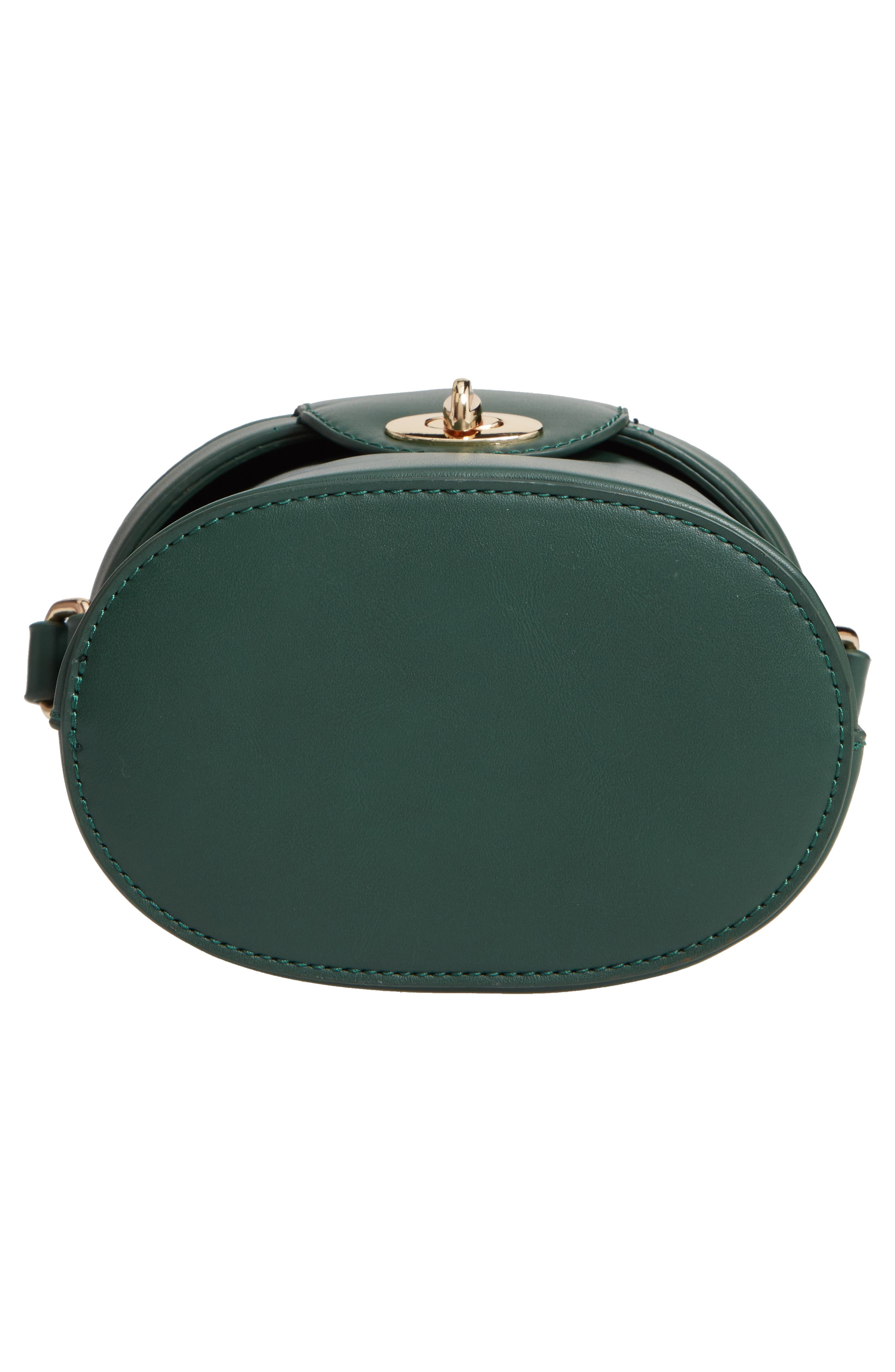 Faux Leather Bucket Bag,                             Alternate thumbnail 6, color,                             GREEN