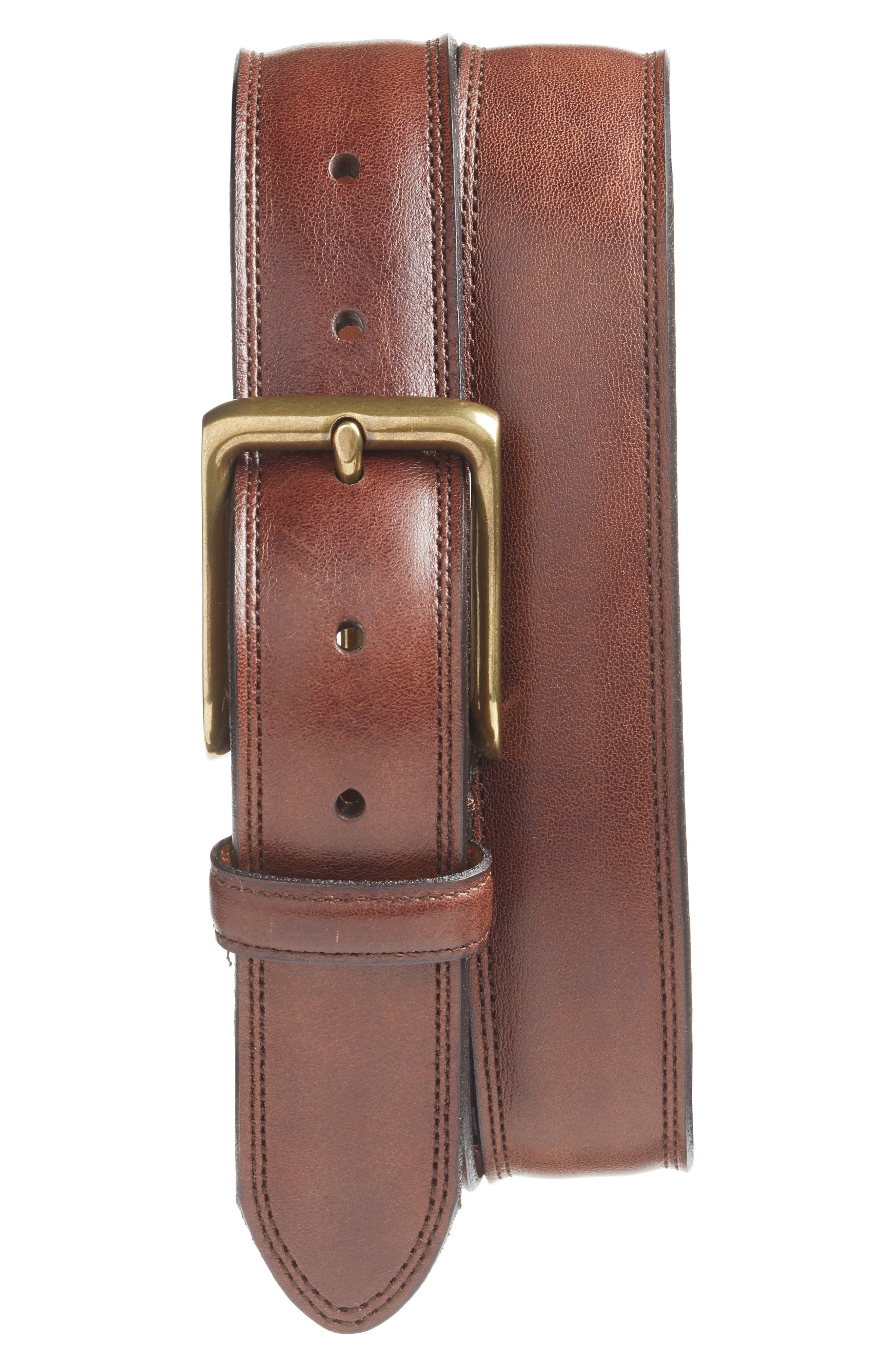 Bosca The Jefferson Leather Belt, Dark Brown