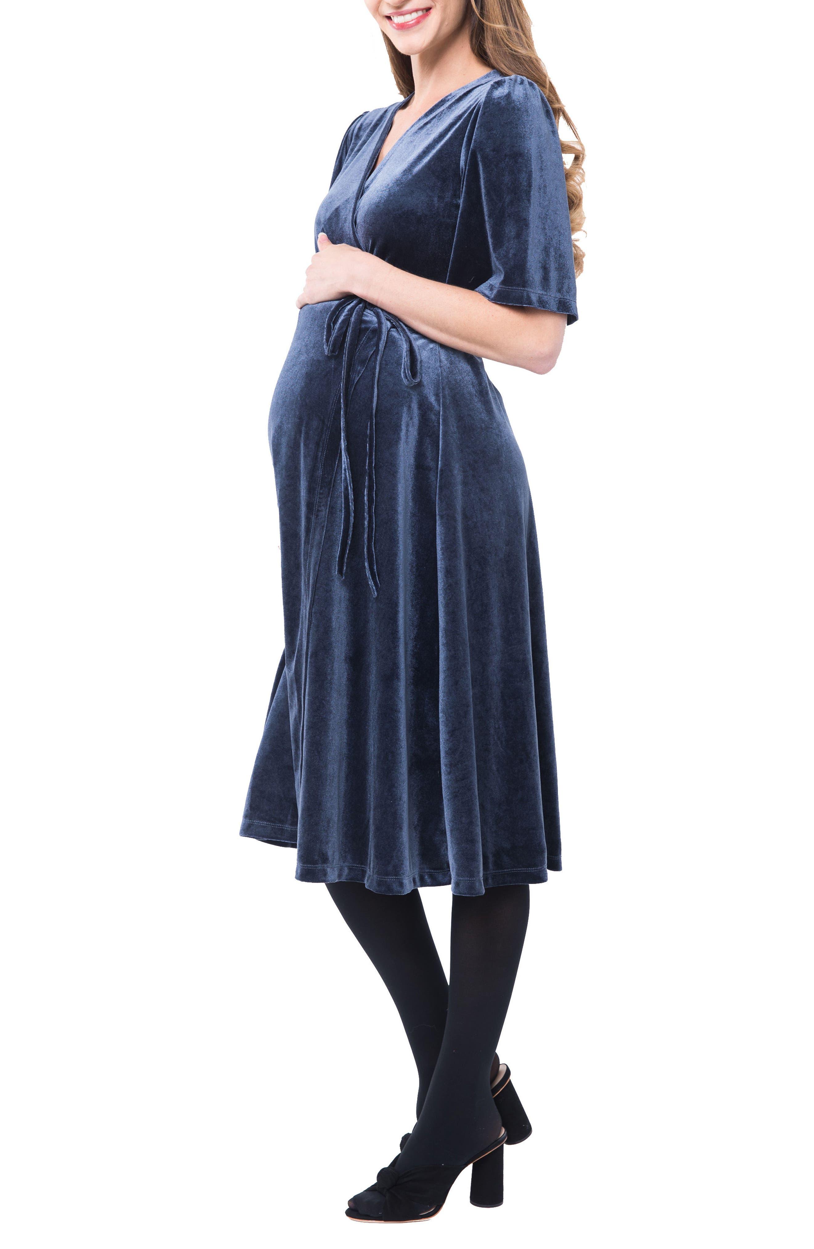 Genevieve Velvet Maternity/Nursing Dress,                             Alternate thumbnail 3, color,                             SLATE