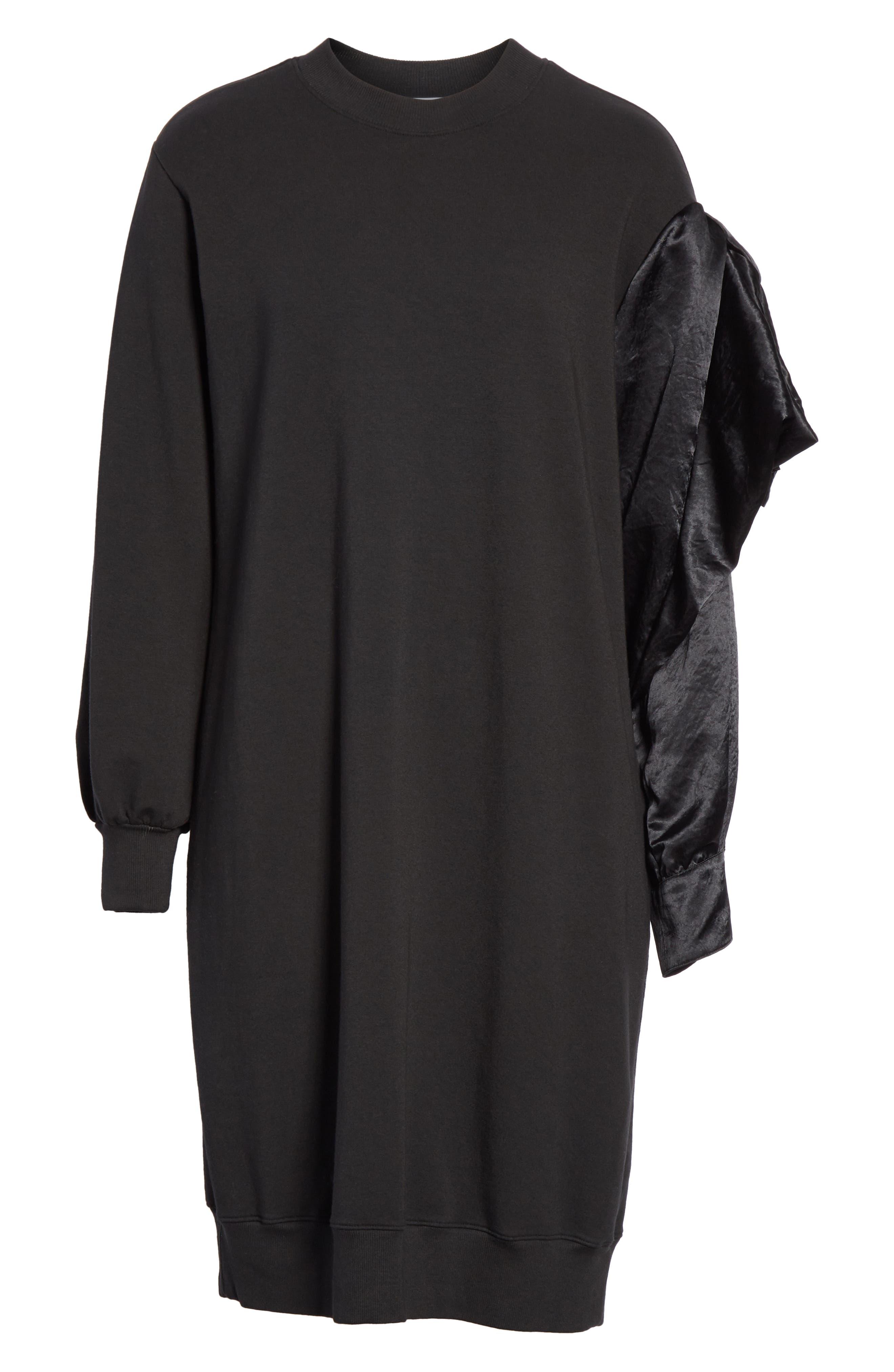 Asymmetric Sweatshirt Dress,                             Alternate thumbnail 7, color,                             BLACK