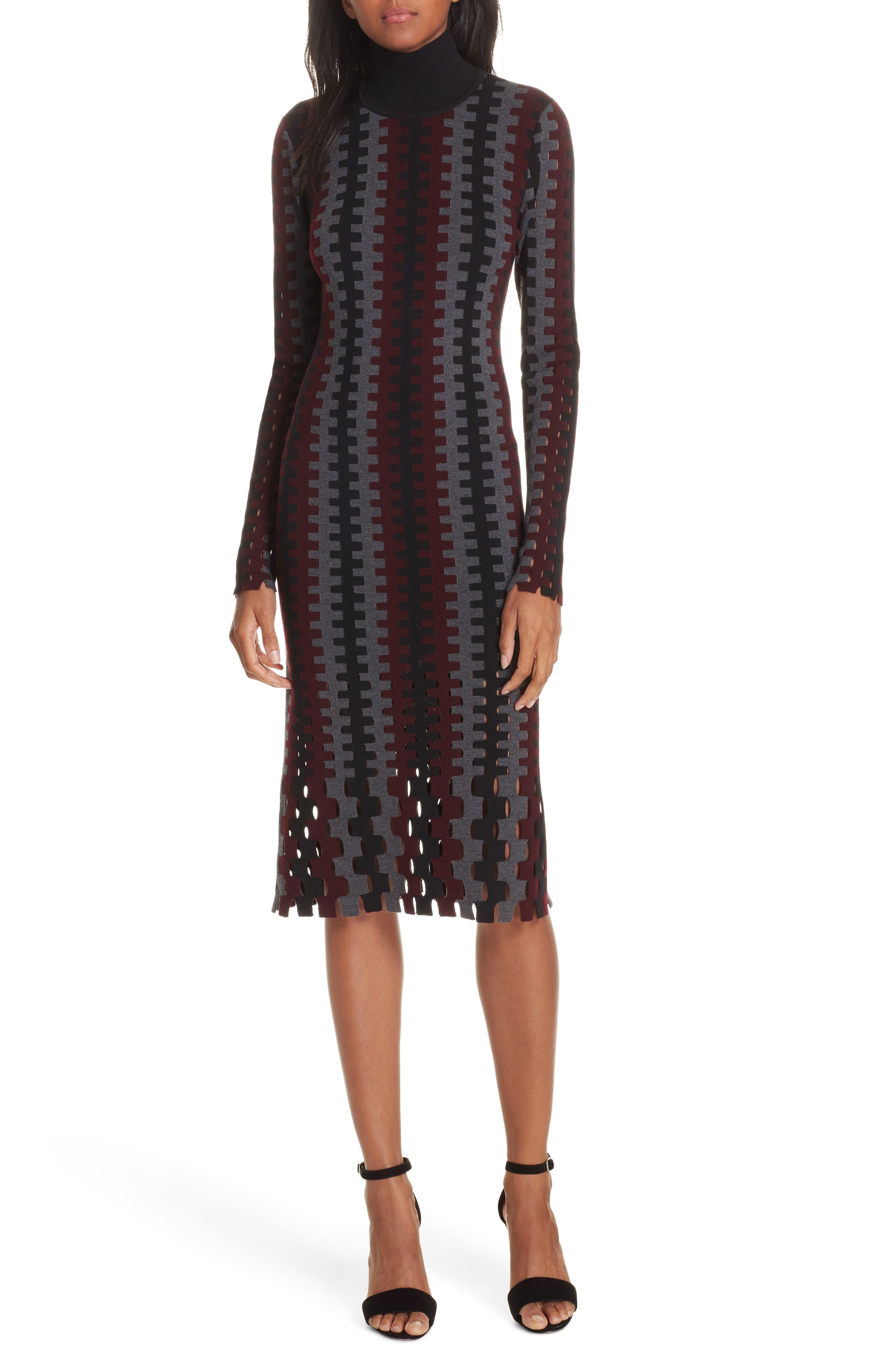 Diane von Furstenberg Turtleneck Merino Wool Midi Dress,                         Main,                         color, 200