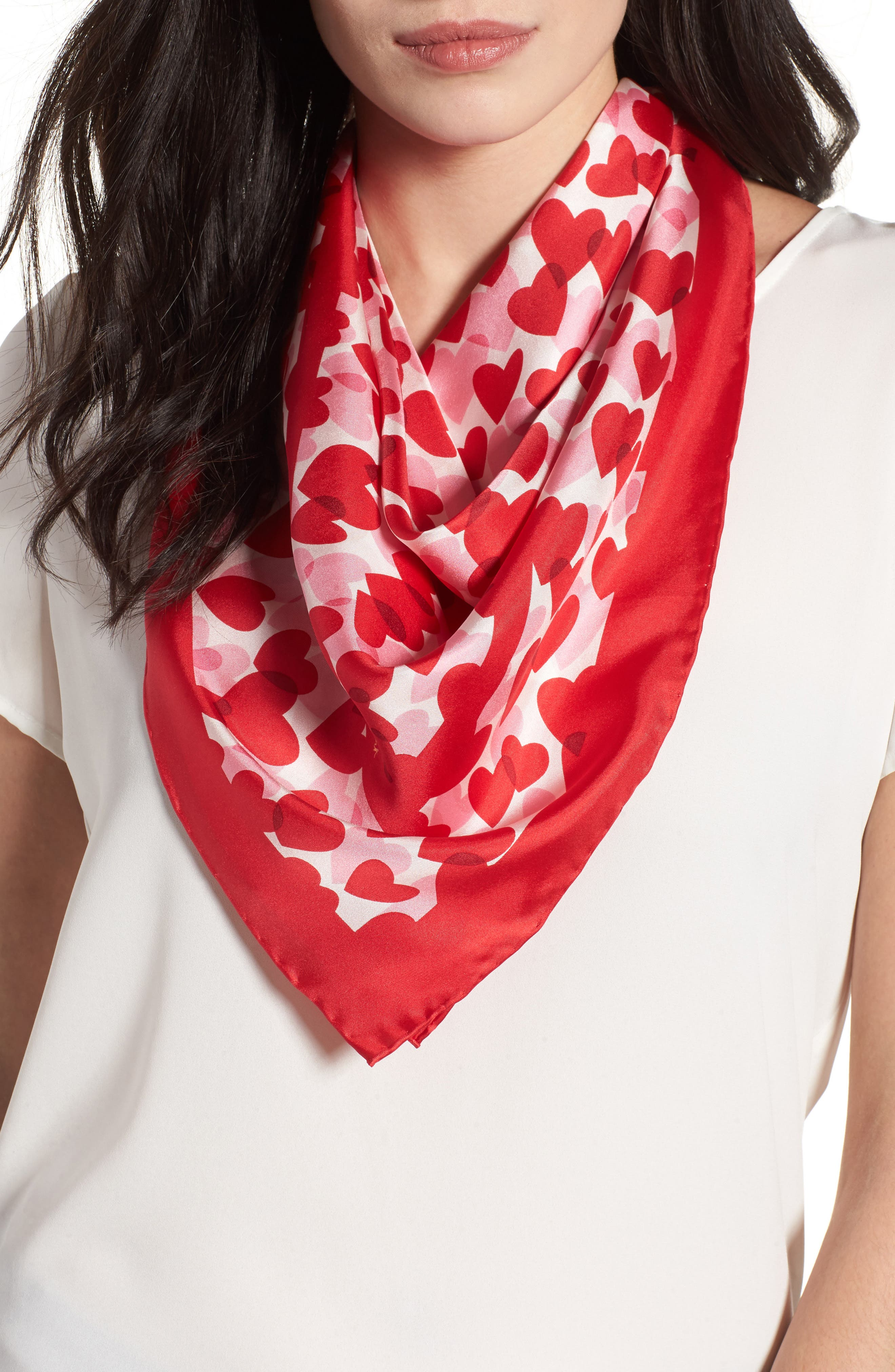 heart party silk square scarf,                             Main thumbnail 1, color,                             CHARM RED