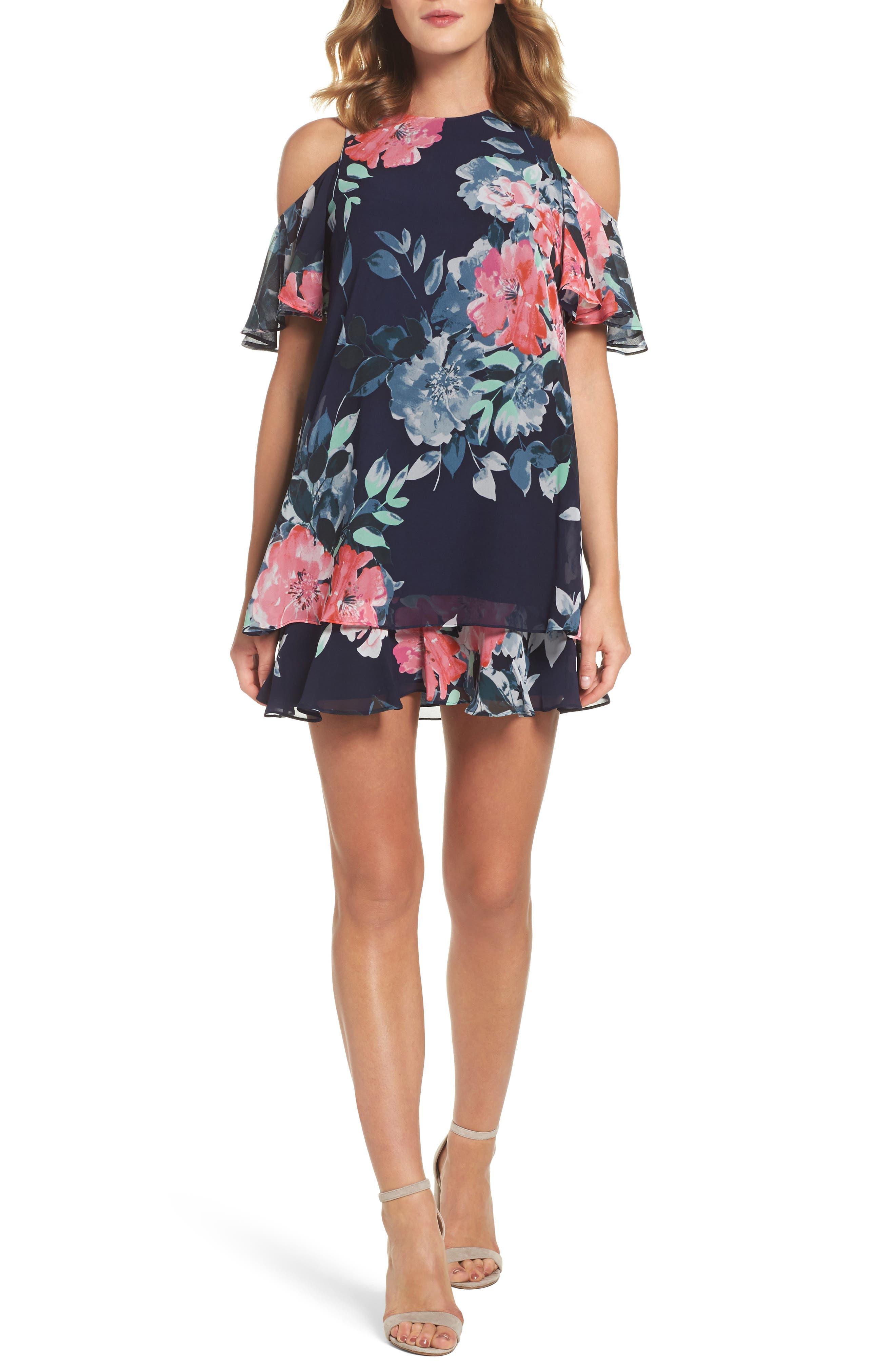 Tiered Chiffon Shift Dress,                         Main,                         color, 410