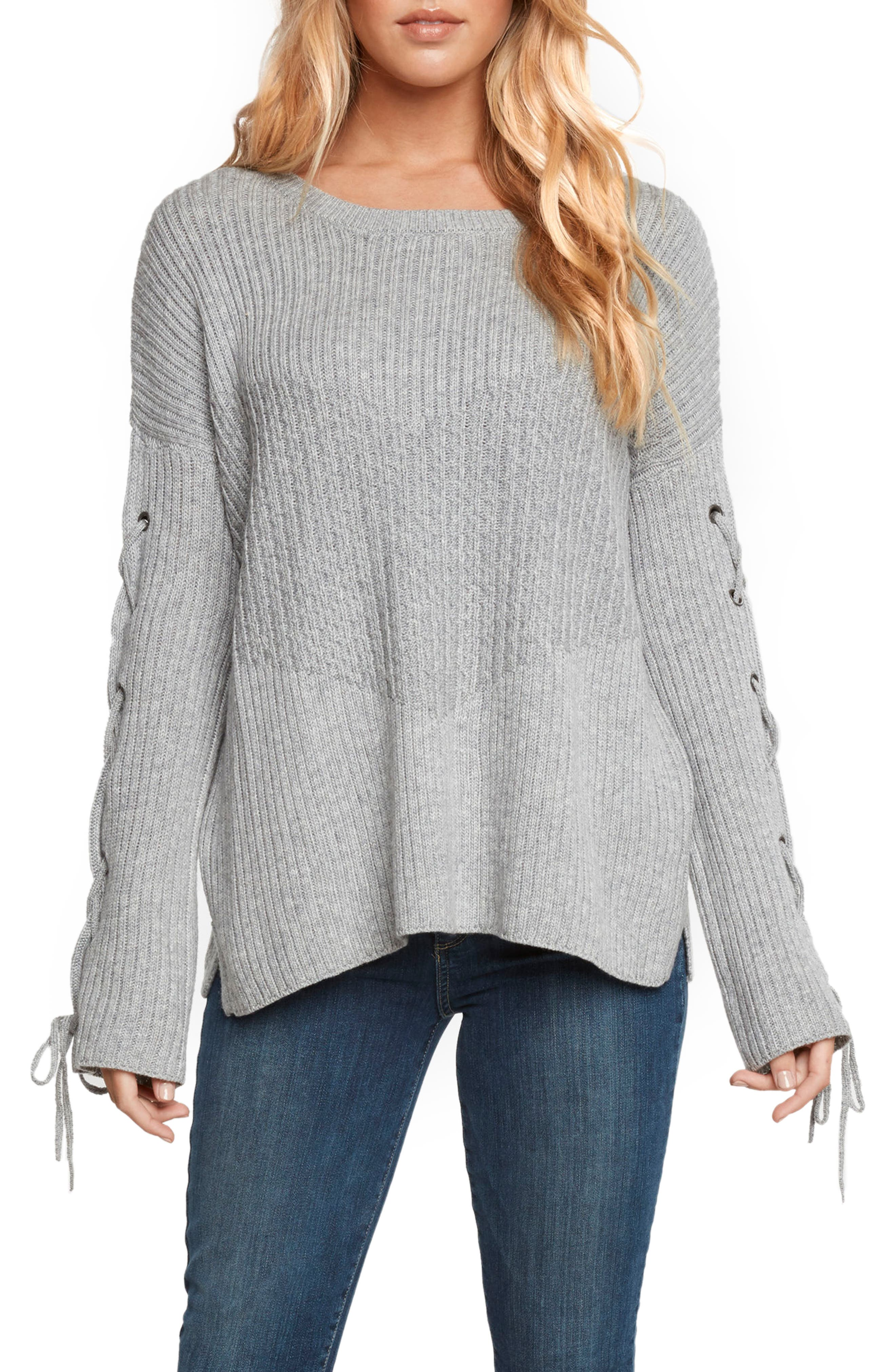 Lace-Up Sleeve Sweater,                             Main thumbnail 1, color,