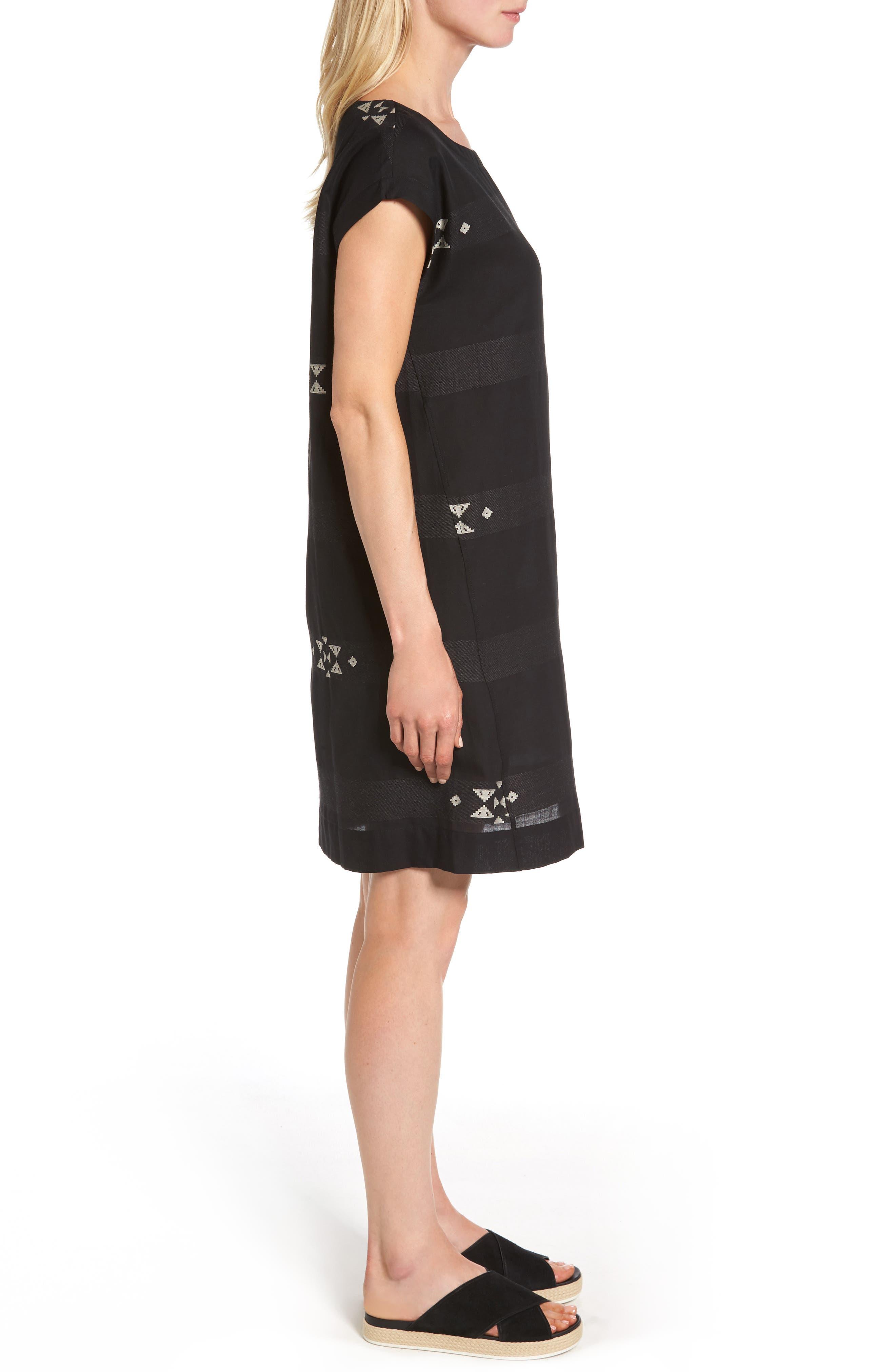 Cotton Jacquard Shirt Dress,                             Alternate thumbnail 3, color,                             001