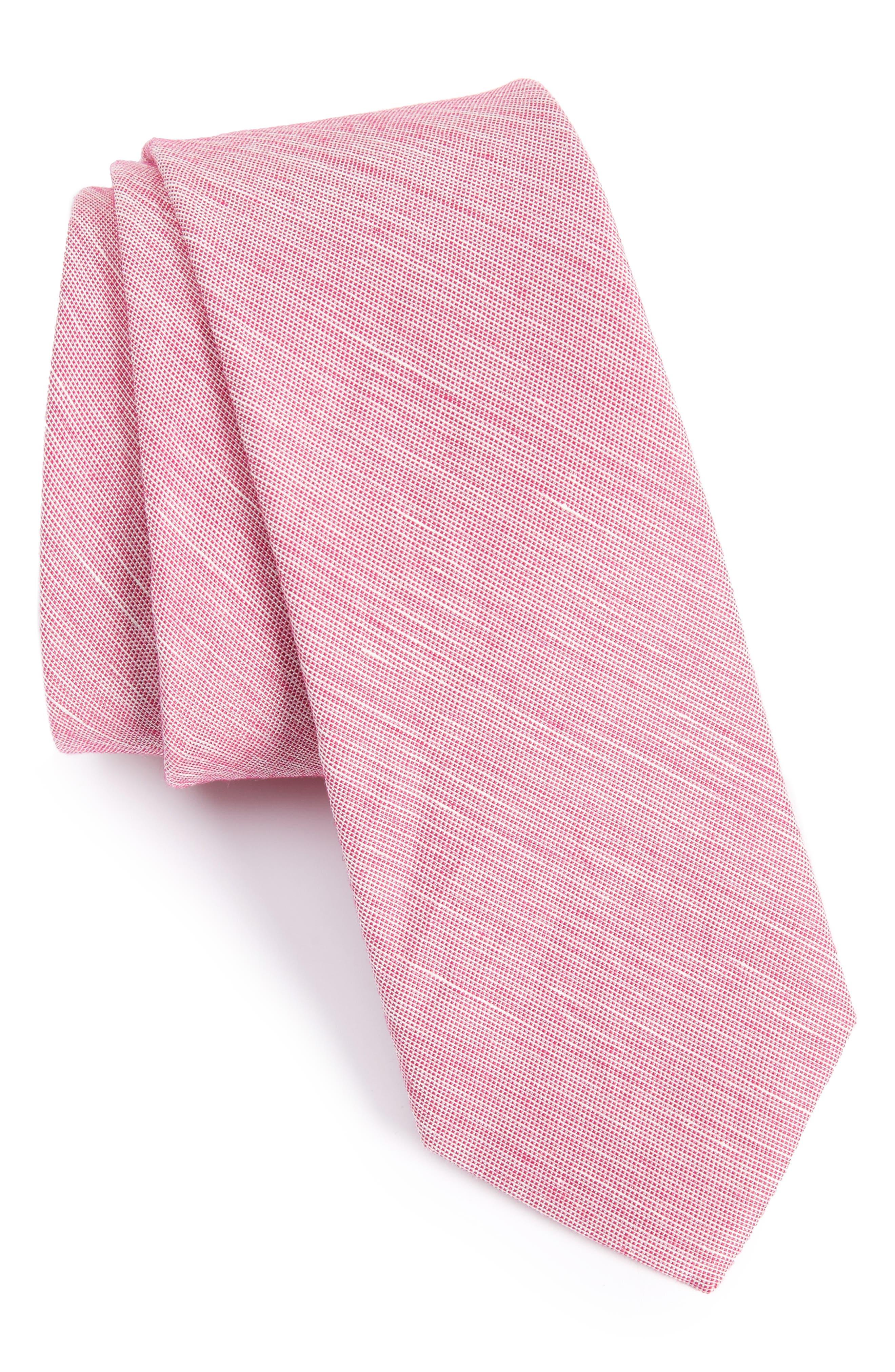 Adena Solid Silk Blend Skinny Tie,                             Main thumbnail 6, color,