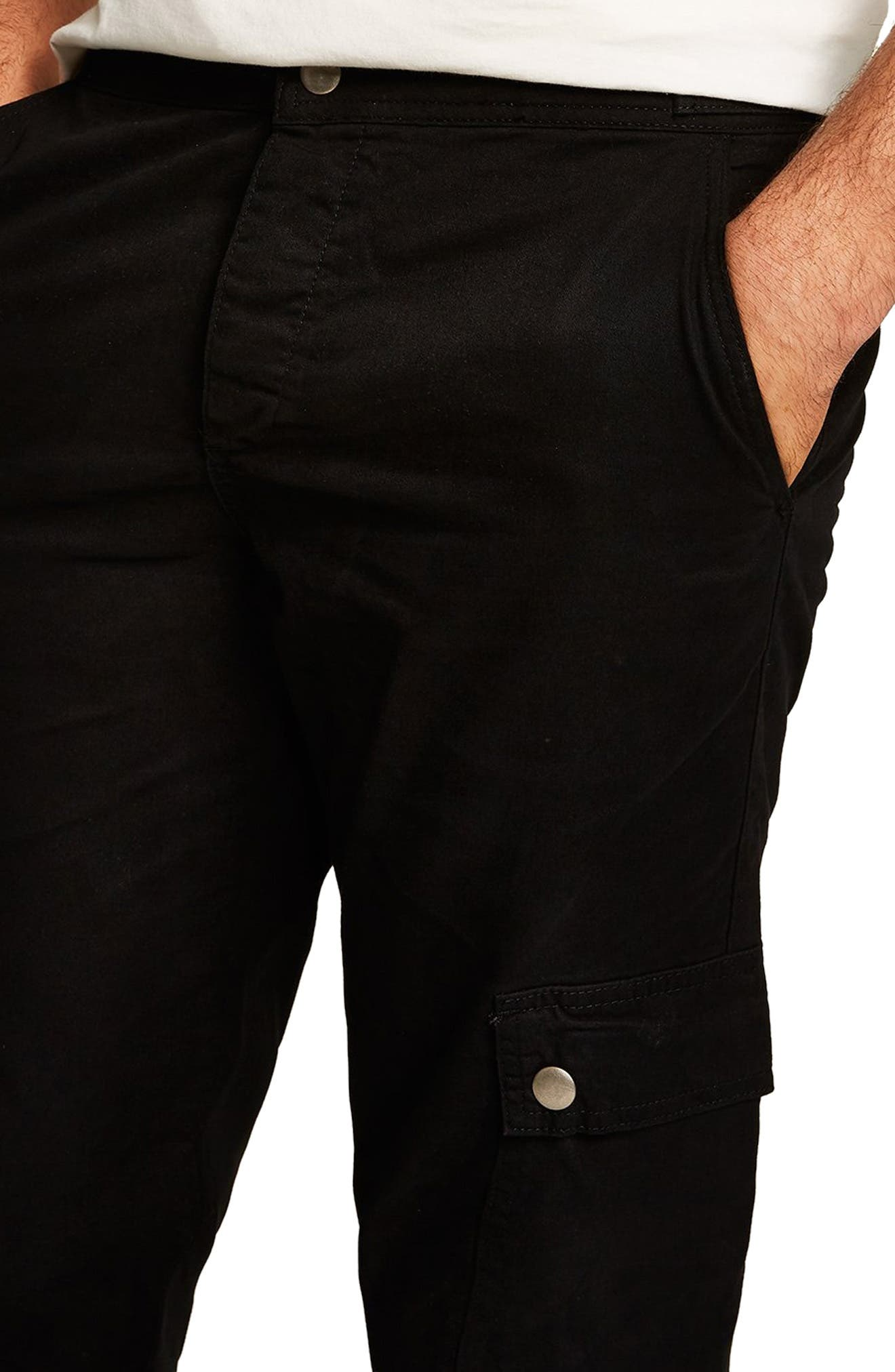 Straight Fit Cargo Trousers,                             Alternate thumbnail 3, color,                             BLACK
