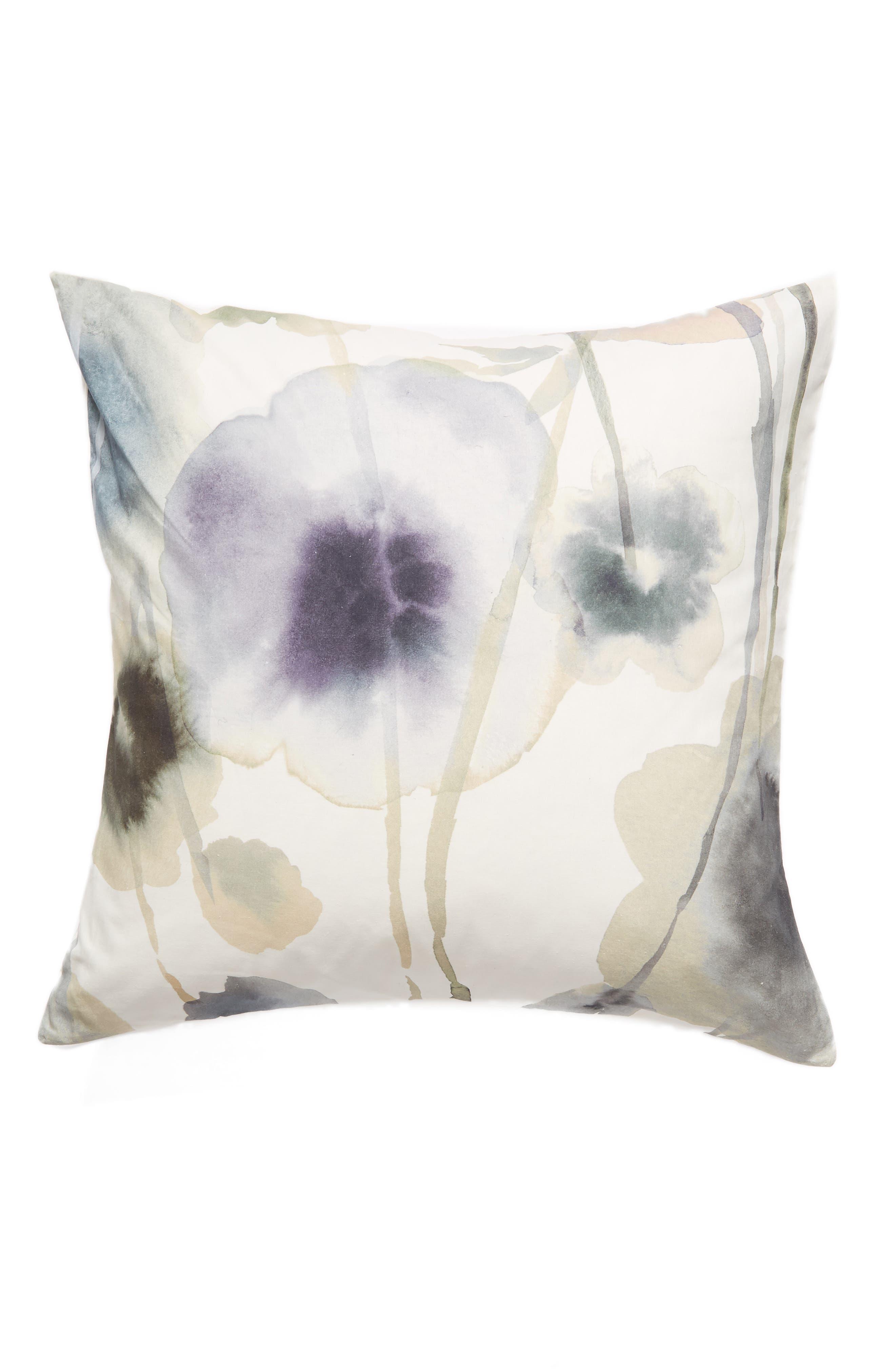 Floral Print Euro Sham,                         Main,                         color, WHITE WHISPER