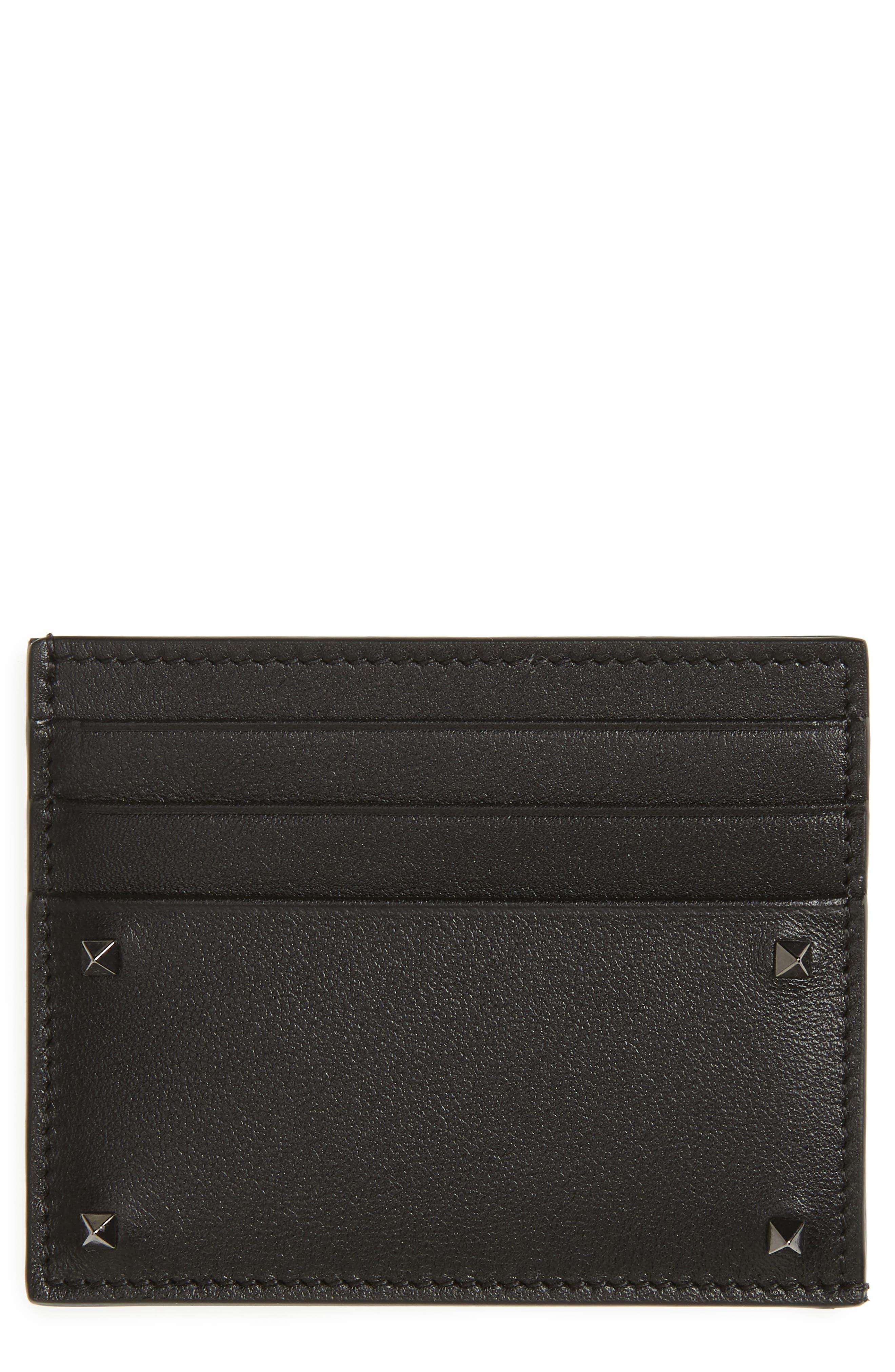 GARAVANI Mini Rock Stud Leather Card Case,                             Main thumbnail 1, color,                             001