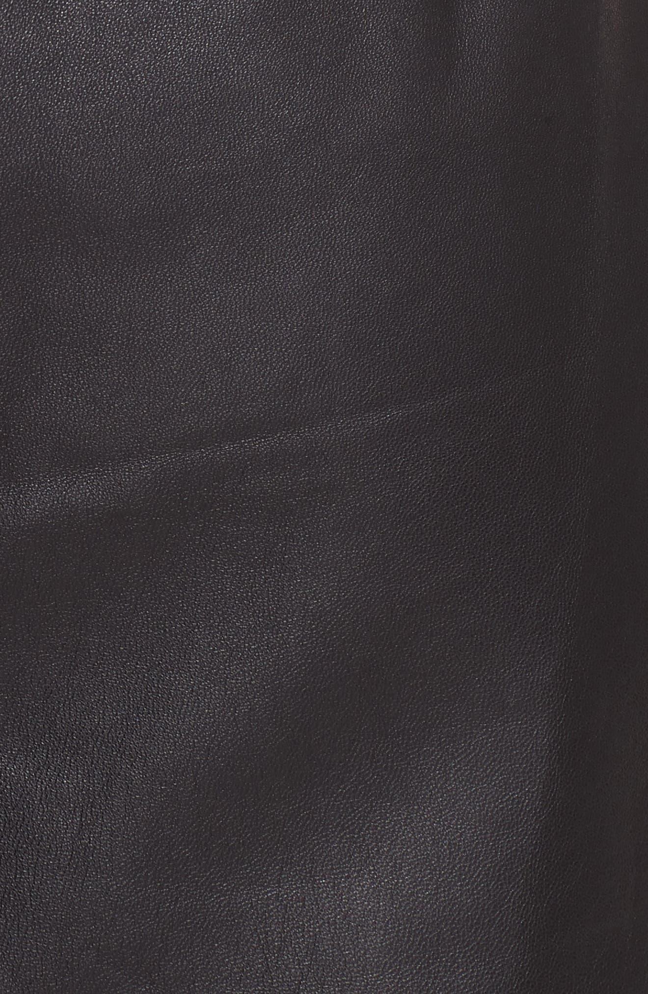 Pull-On Leather Miniskirt,                             Alternate thumbnail 5, color,                             NOIR