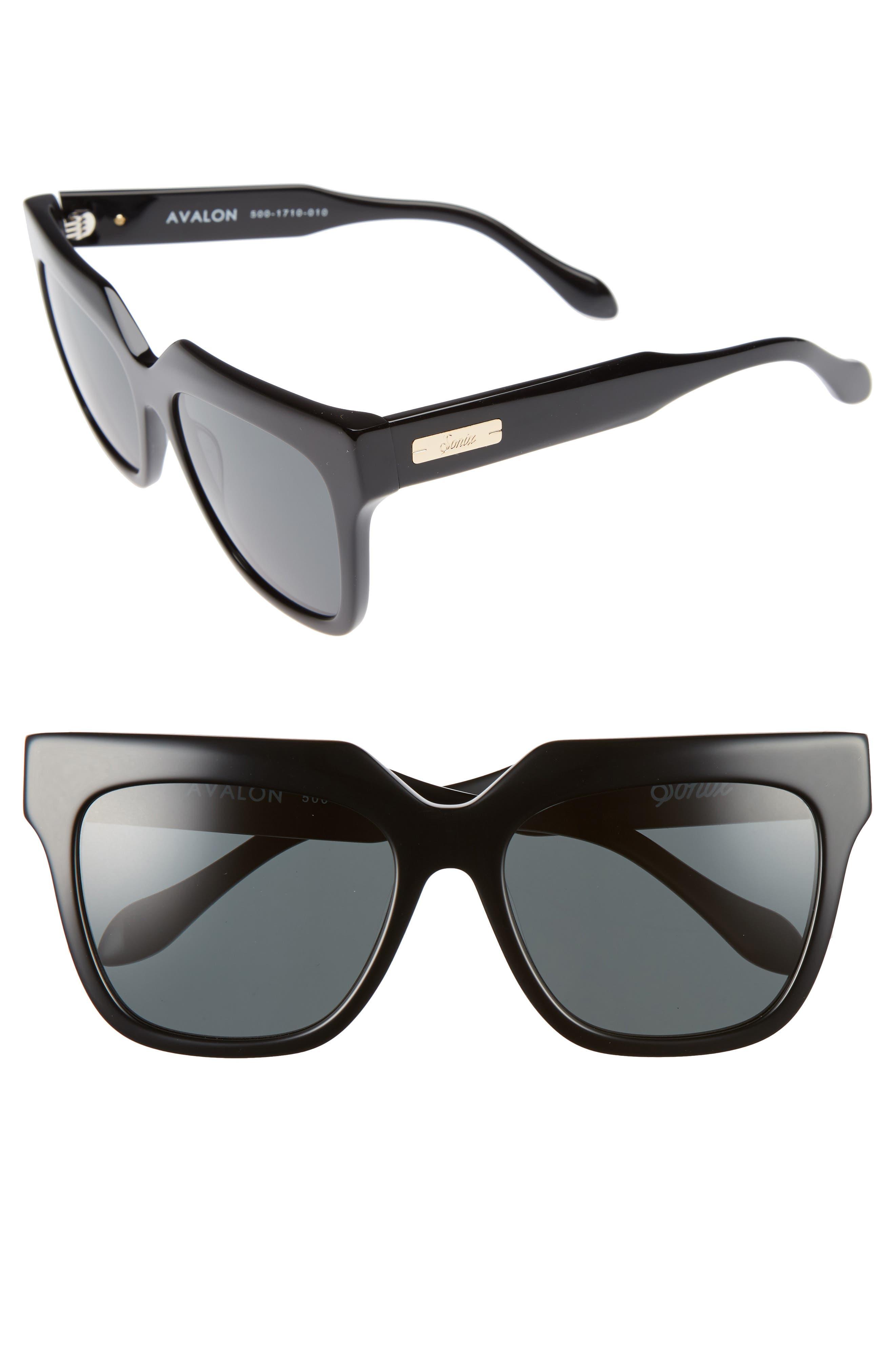 Avalon 57mm Retro Sunglasses,                         Main,                         color, 001