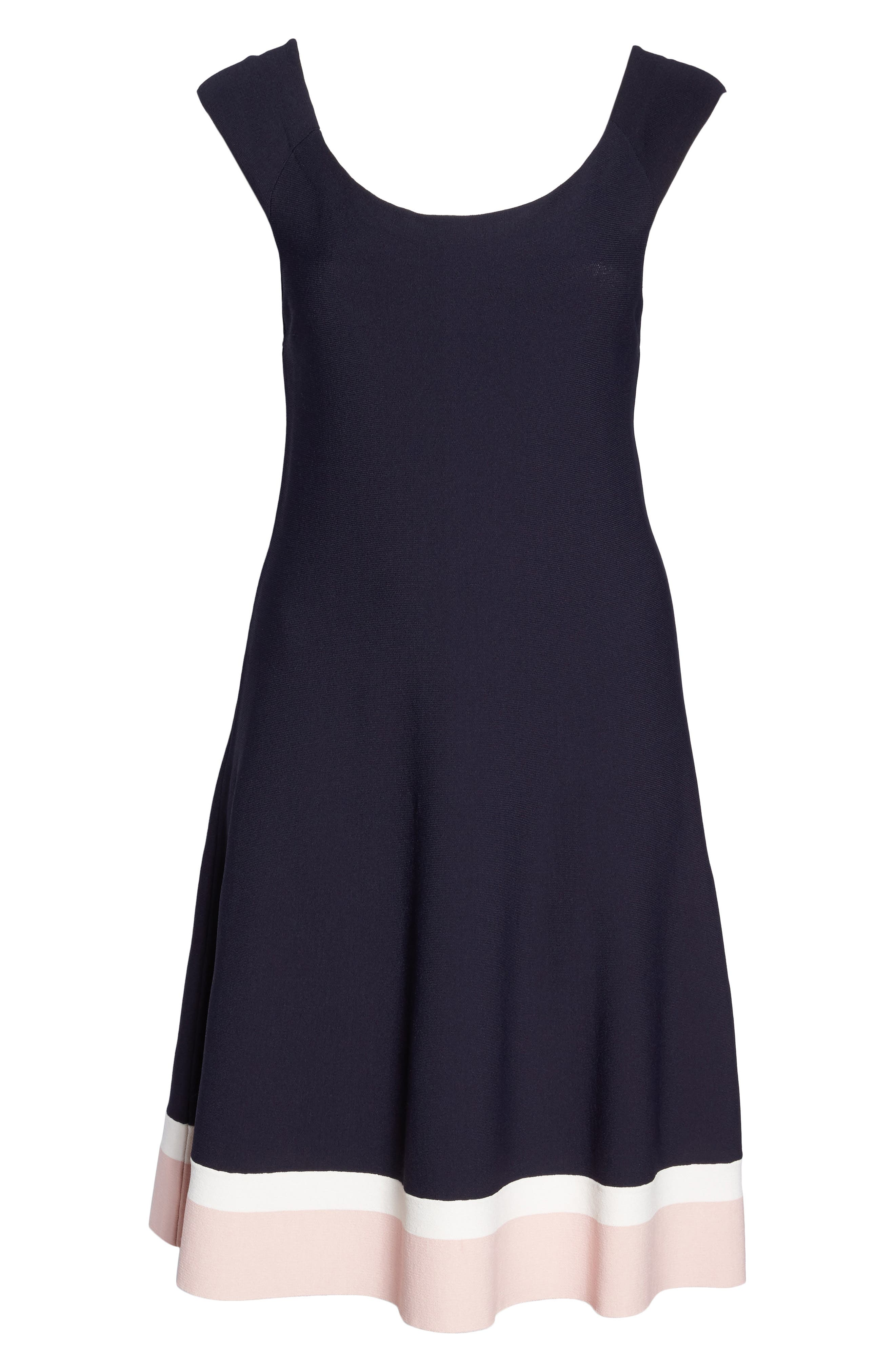 Off the Shoulder Fit & Flare Dress,                             Alternate thumbnail 6, color,                             410