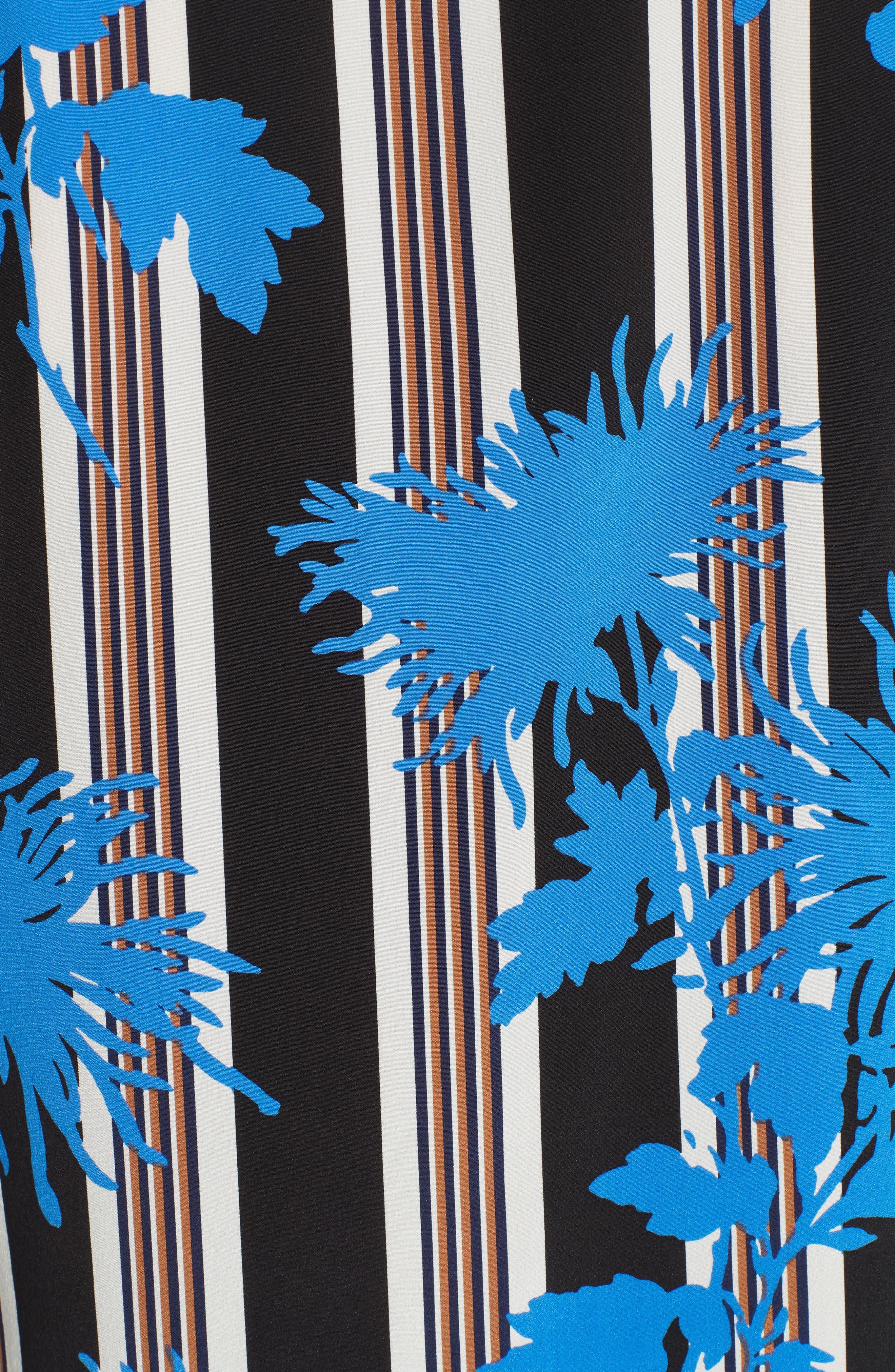 Diane von Furstenberg Floral Print Silk Shirt,                             Alternate thumbnail 5, color,                             SHELFORD B