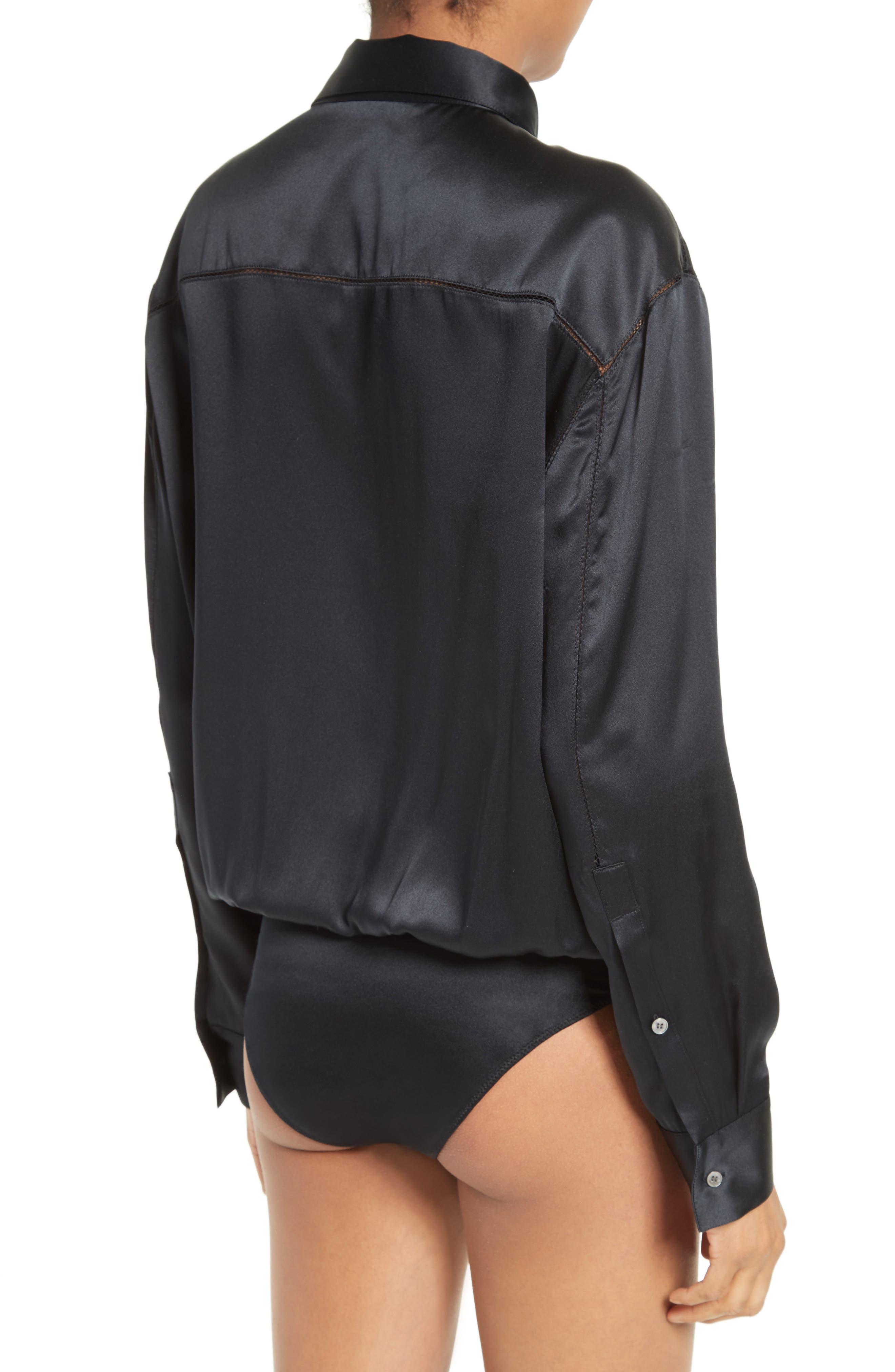 Silk Wrap Shirt Bodysuit,                             Alternate thumbnail 3, color,                             001
