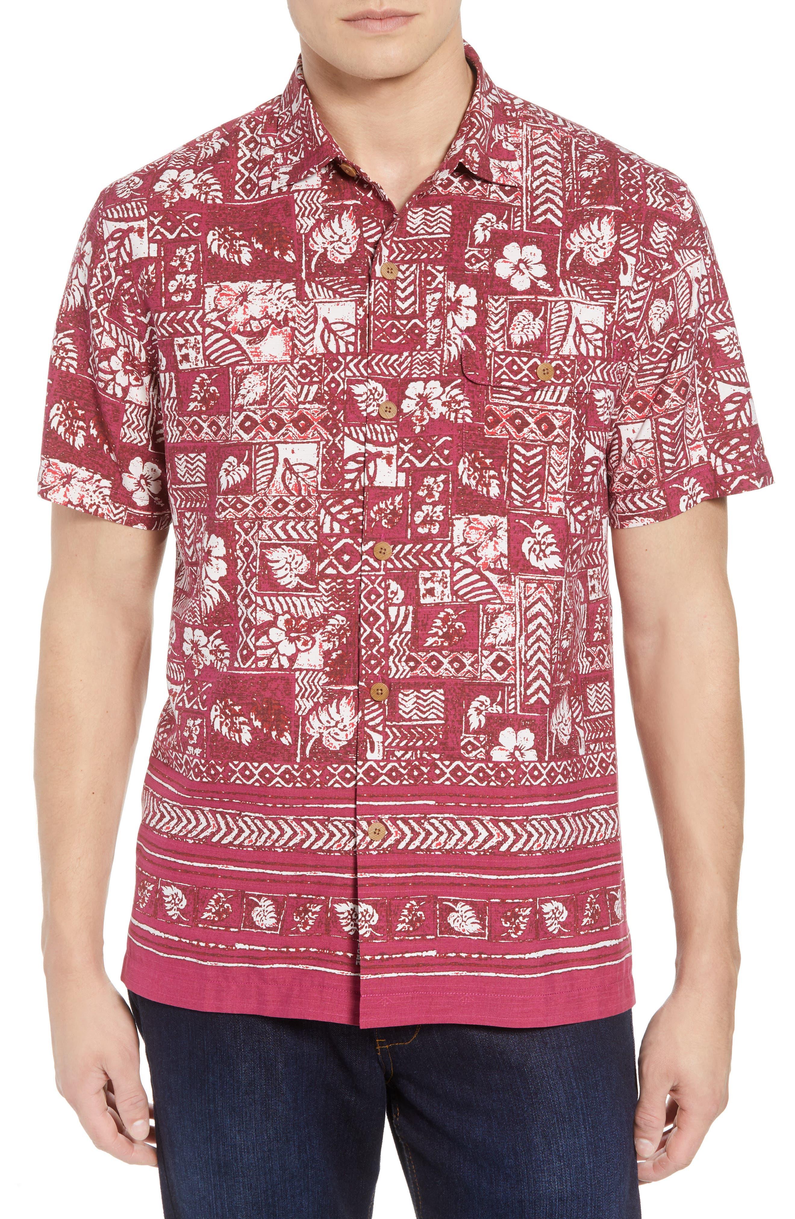 Veracruz Border Tiles Silk Blend Camp Shirt,                         Main,                         color, 600