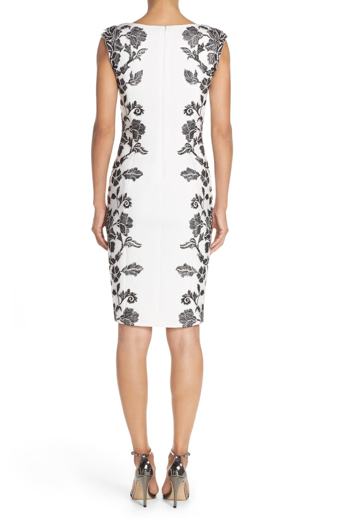 Embroidered Neoprene Sheath Dress,                             Alternate thumbnail 12, color,