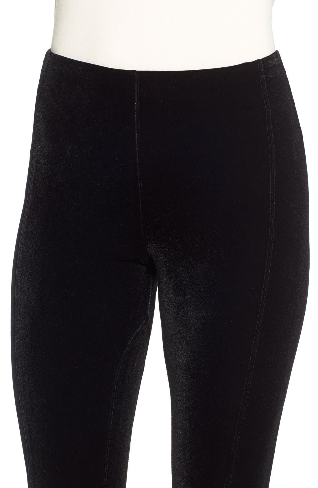 Mara Velvet Leggings,                             Alternate thumbnail 4, color,                             BLACK