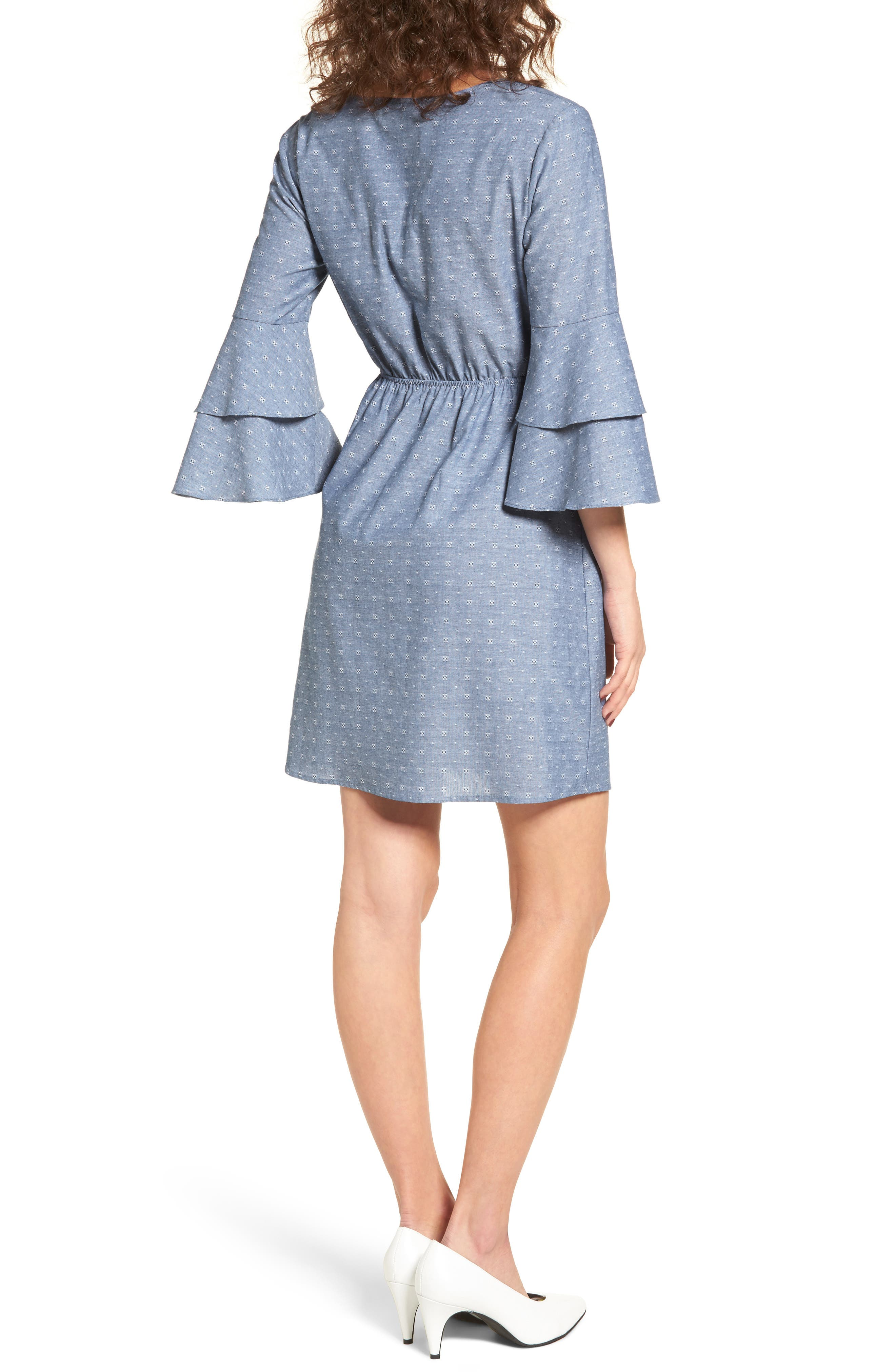 Cutout Tiered Sleeve Dress,                             Alternate thumbnail 2, color,