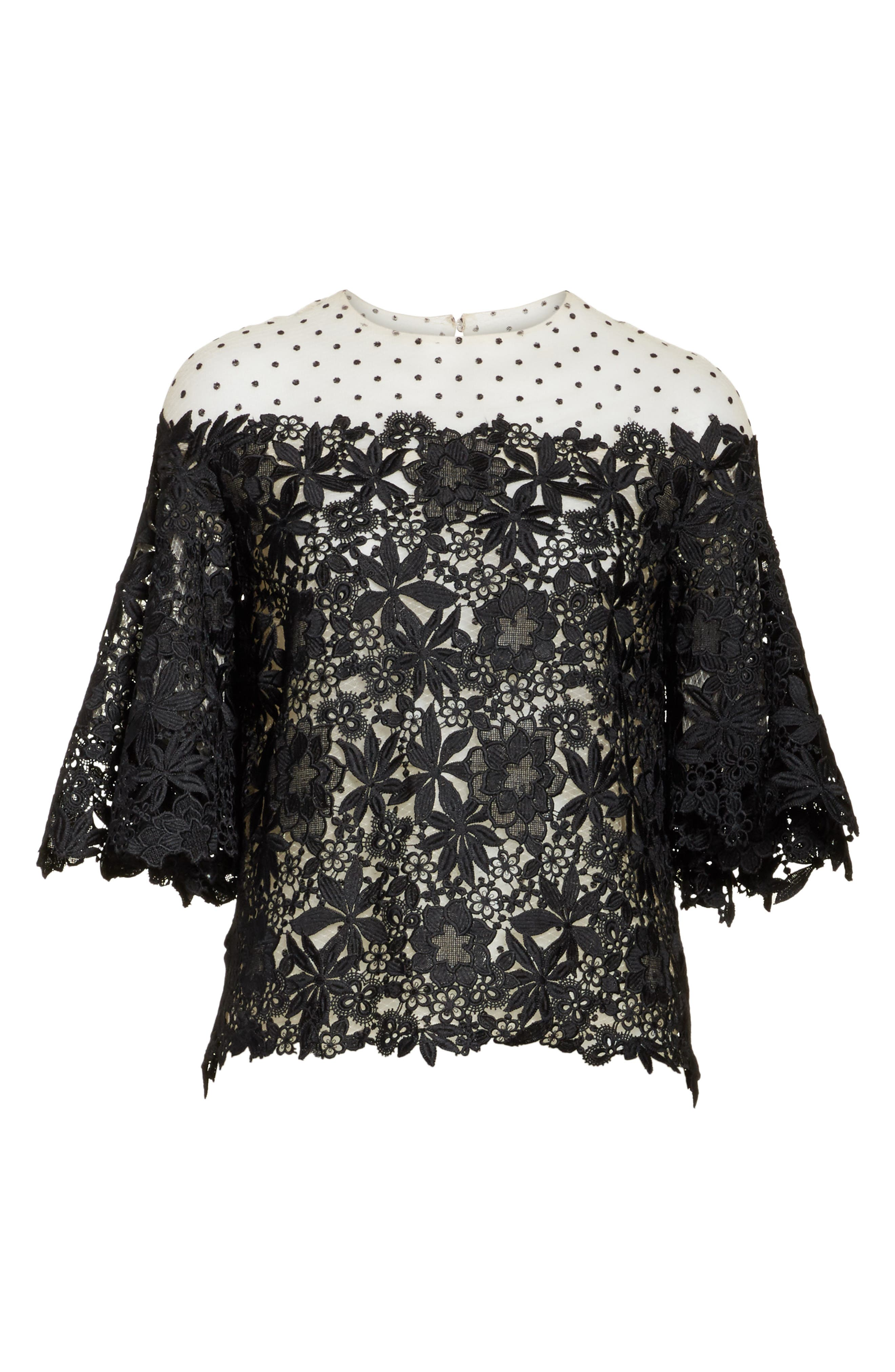 Lace & Dot Flutter Sleeve Top,                             Alternate thumbnail 6, color,