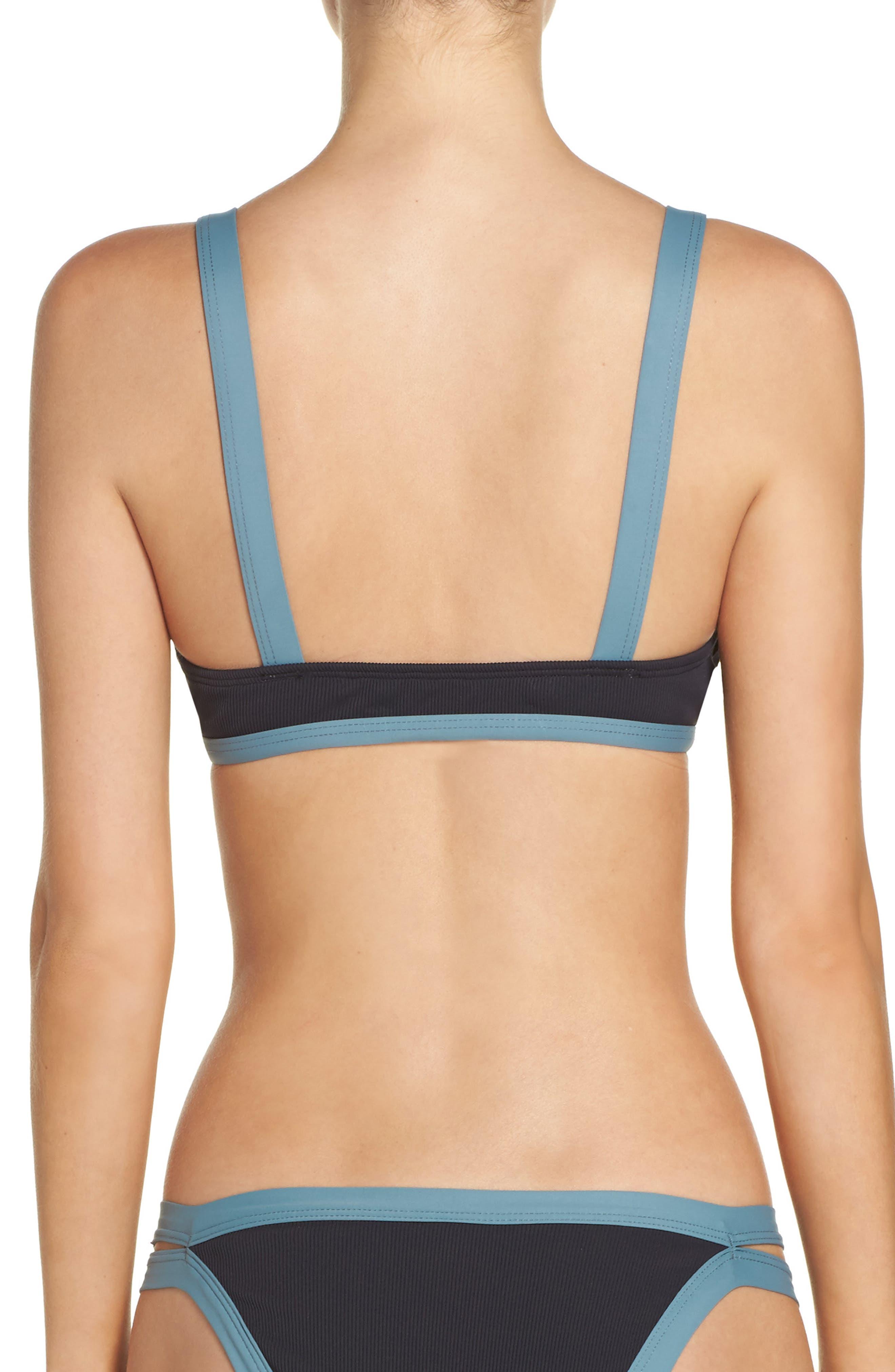 Farrah Ribbed Bikini Top,                             Alternate thumbnail 2, color,                             001