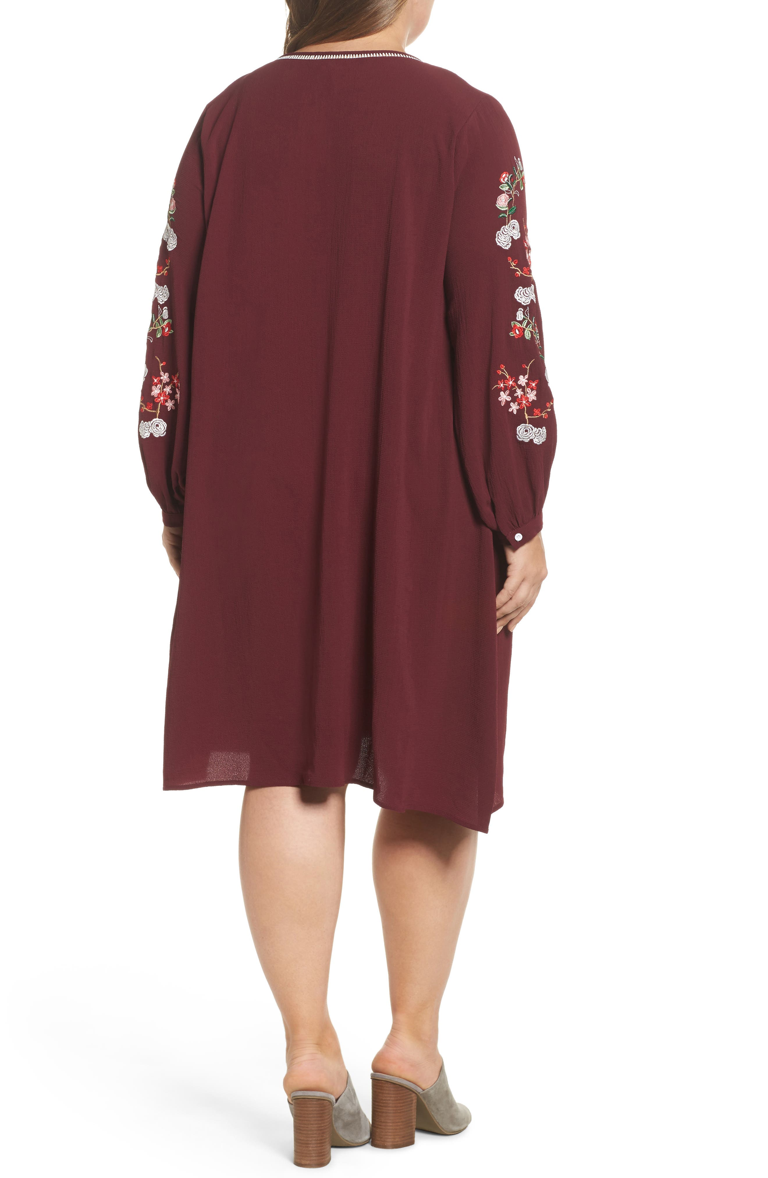 Floral Embroidered Shift Dress,                             Alternate thumbnail 4, color,