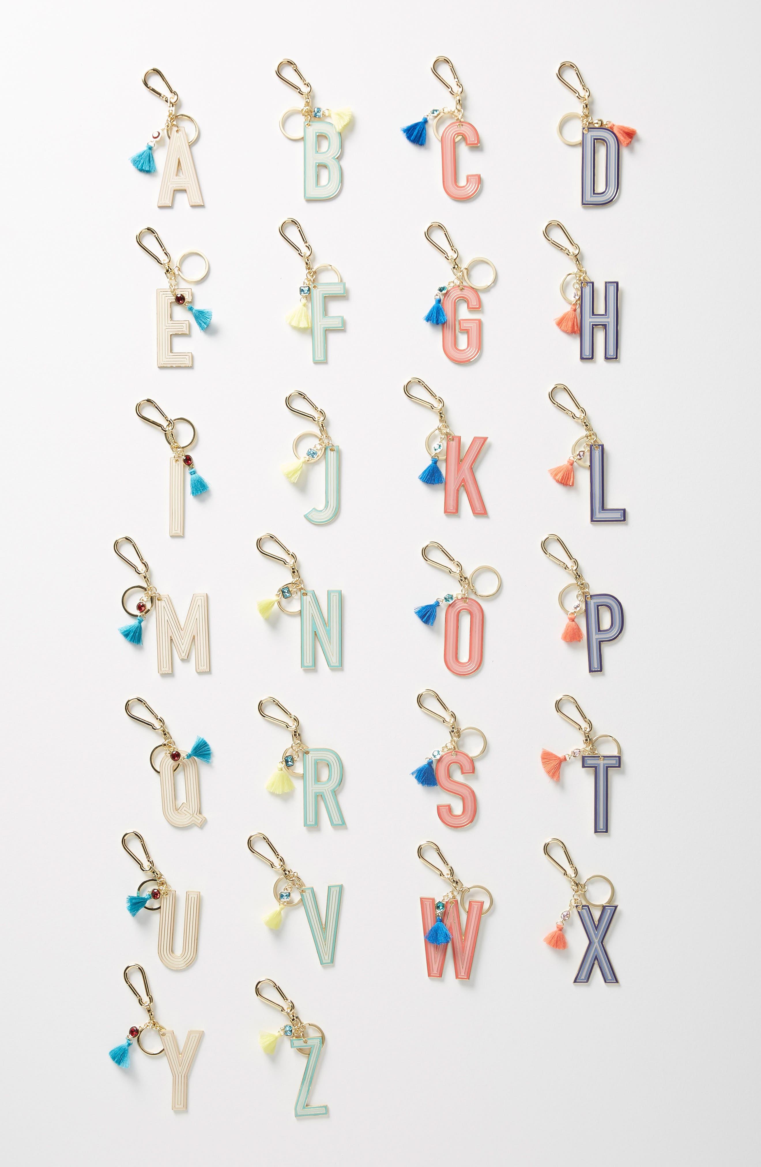 ANTHROPOLOGIE Juniper Monogram Key Chain, Main, color, U