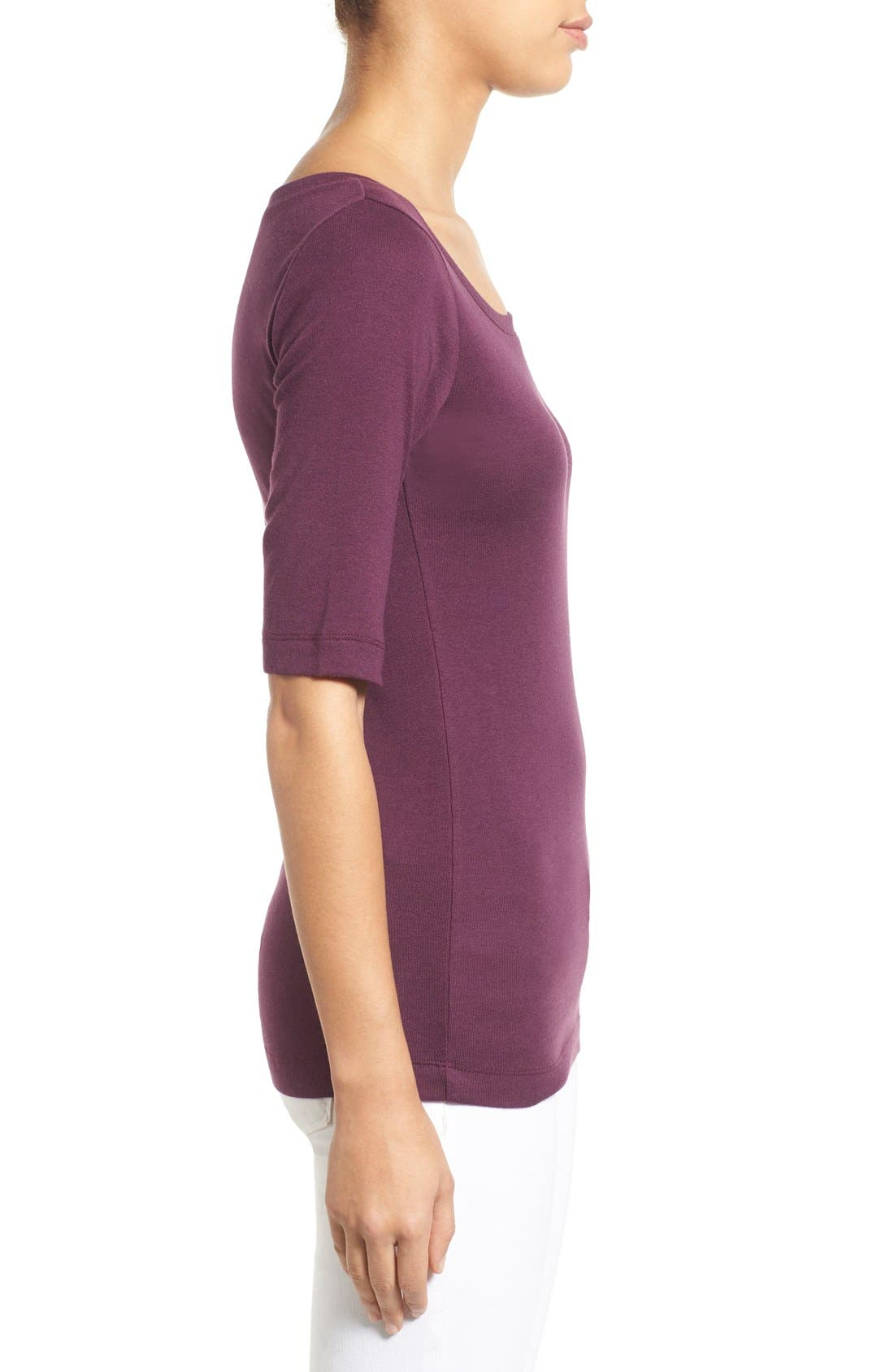 Ballet Neck Cotton & Modal Knit Elbow Sleeve Tee,                             Alternate thumbnail 145, color,