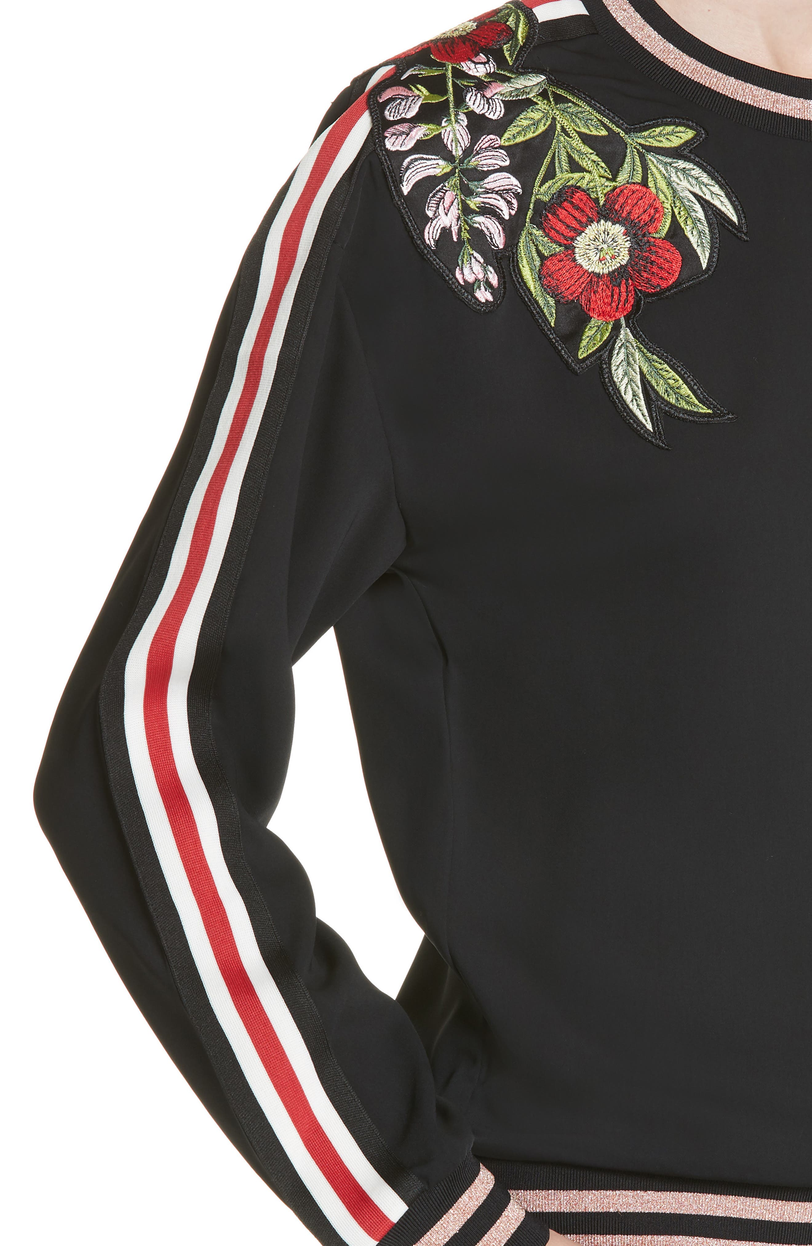 Maddeyy Embroidered Trim Top,                             Alternate thumbnail 4, color,                             001