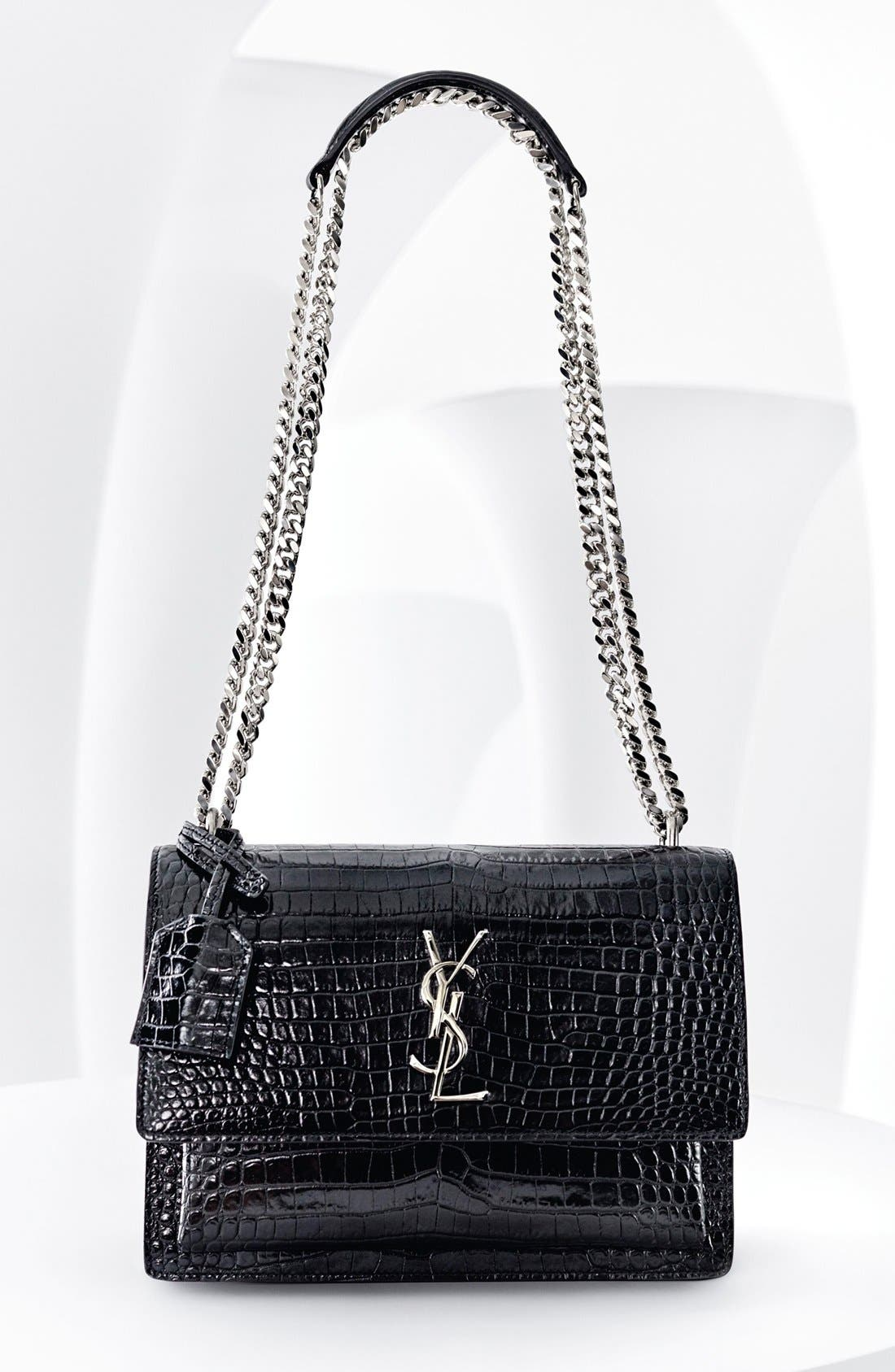 'Medium Monogram Sunset' Croc Embossed Leather Shoulder Bag,                             Alternate thumbnail 6, color,                             NERO