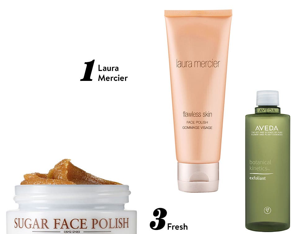 High-five: top-rated exfoliating treatments from Laura Mercier, Aveda, Fresh, Paula's Choice and Kate Somerville.