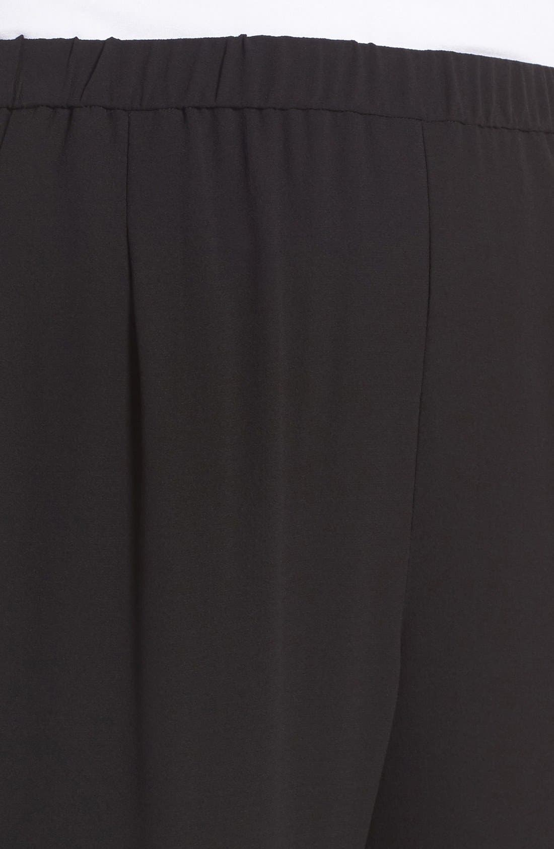 Silk Georgette Crepe Straight Ankle Pants,                             Alternate thumbnail 4, color,                             001