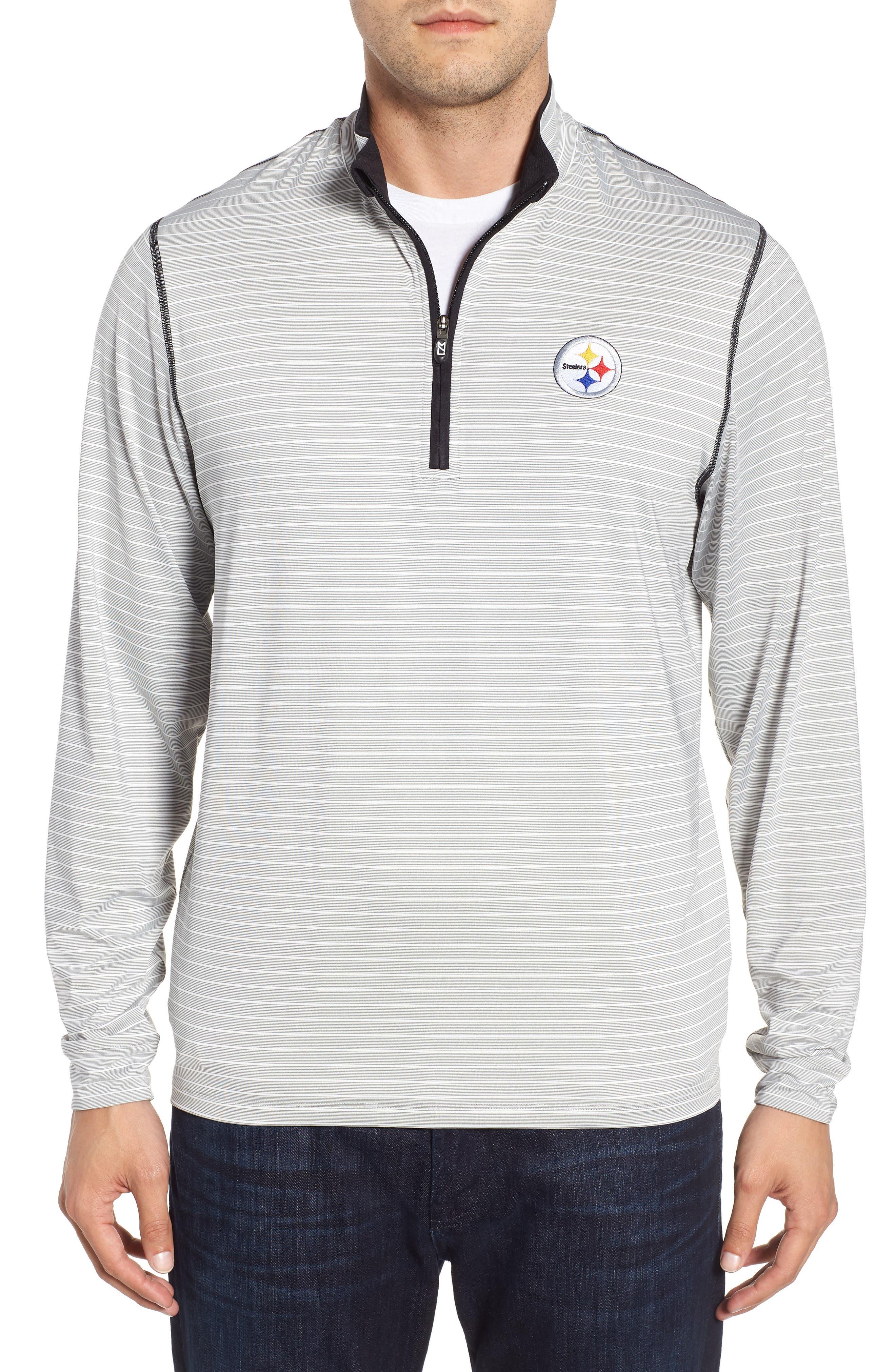 Meridian - Pittsburgh Steelers Regular Fit Half Zip Pullover,                             Main thumbnail 1, color,                             BLACK