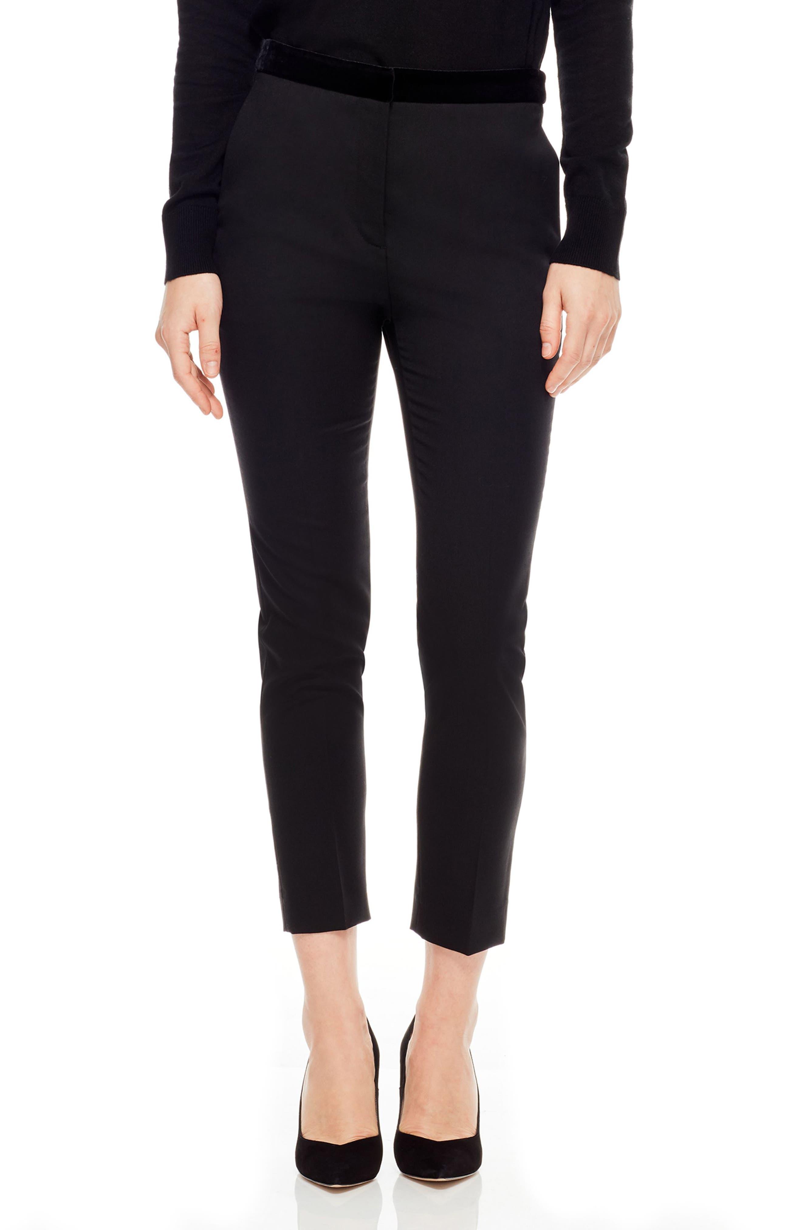 Velvet Waistband Slim Pants,                             Main thumbnail 1, color,                             BLACK