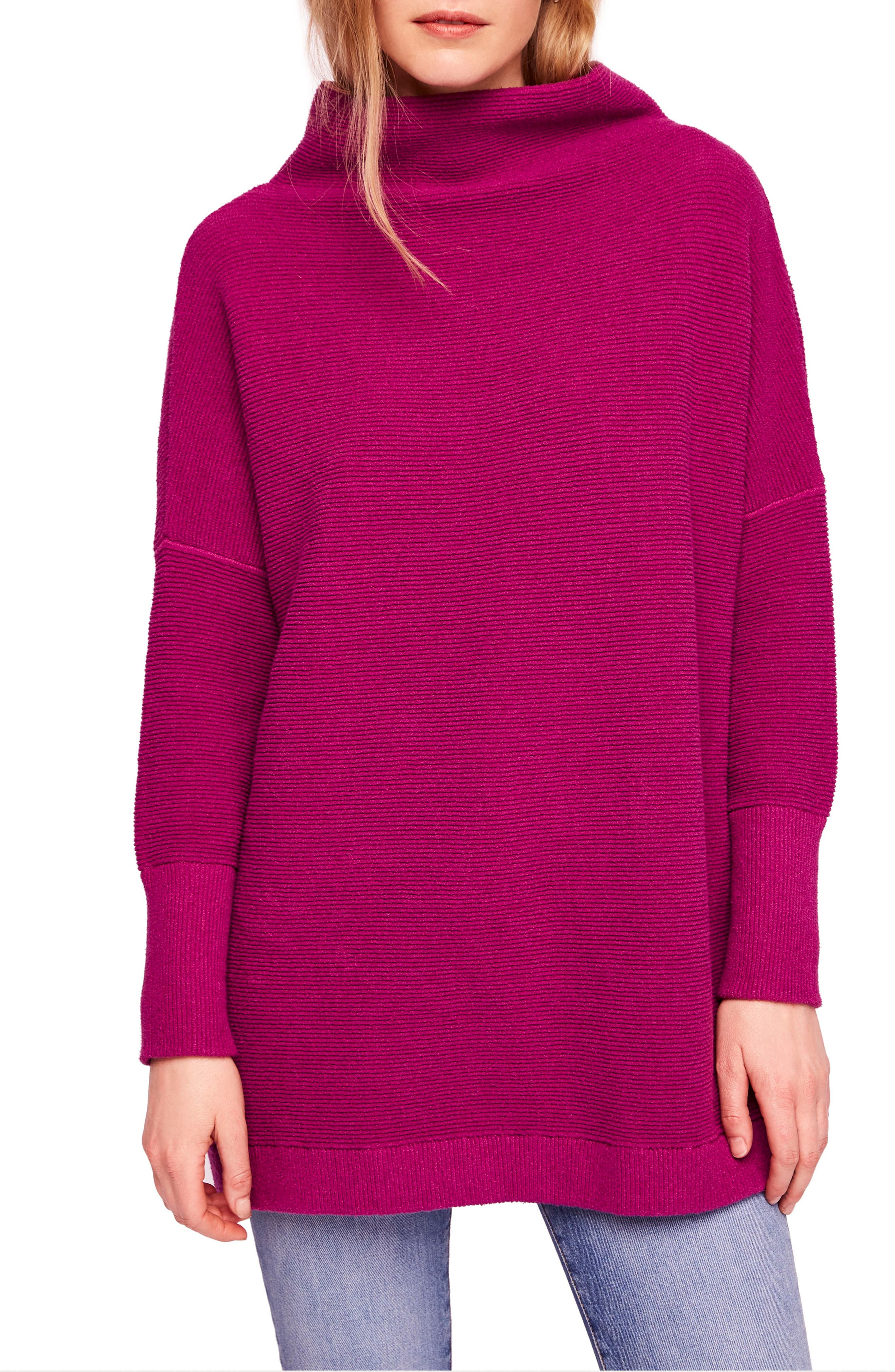 Ottoman Slouchy Tunic,                         Main,                         color, MULBERRY